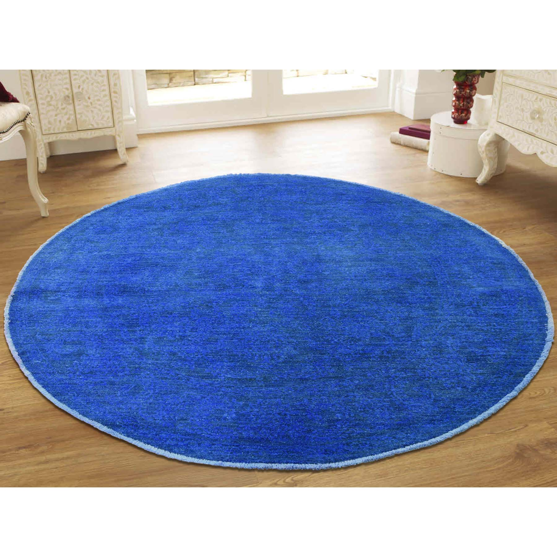 5-1 x5-3  Overdyed Chobi Not Worn Hand-Knotted Round Oriental Rug