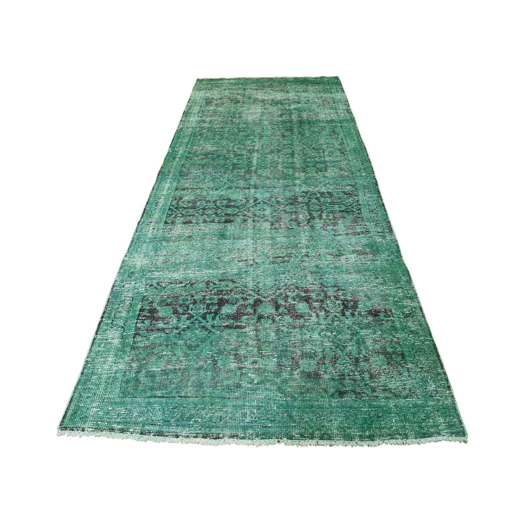 3-8 x10-1  Hamadan Persian Overdyed Hand-Knotted Pure Wool Runner Rug