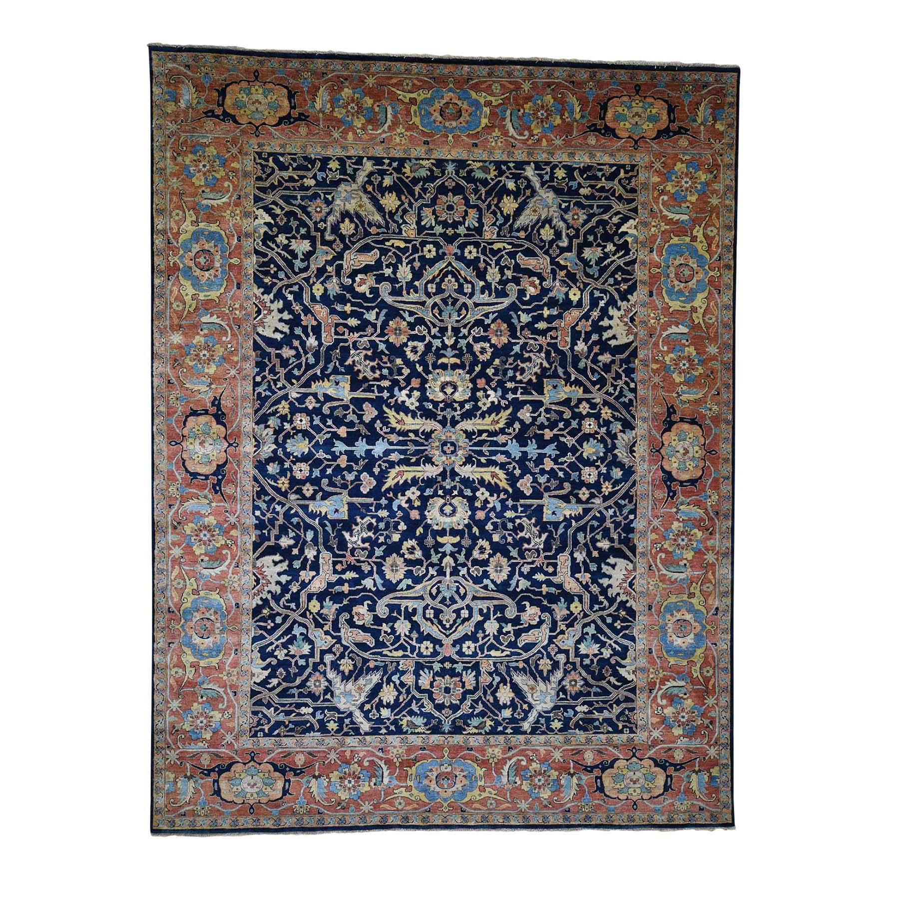 "8'10""X11'10"" Antiqued Heriz All Over Design Pure Wool Hand-Knotted Oriental Rug moada706"