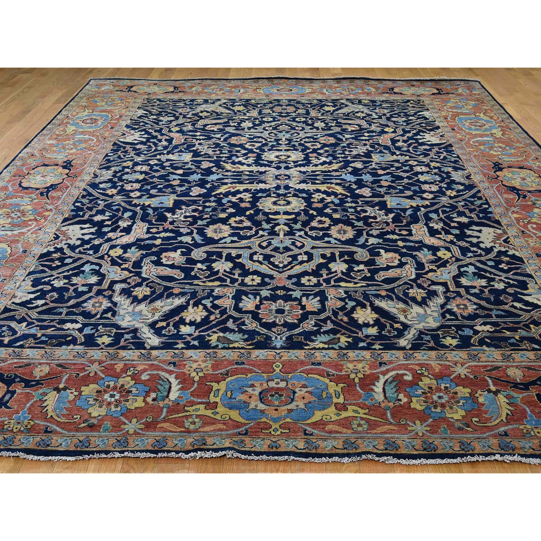 "8'10""x11'10"" Antiqued Heriz All Over Design Pure Wool Hand-Knotted Oriental Rug"