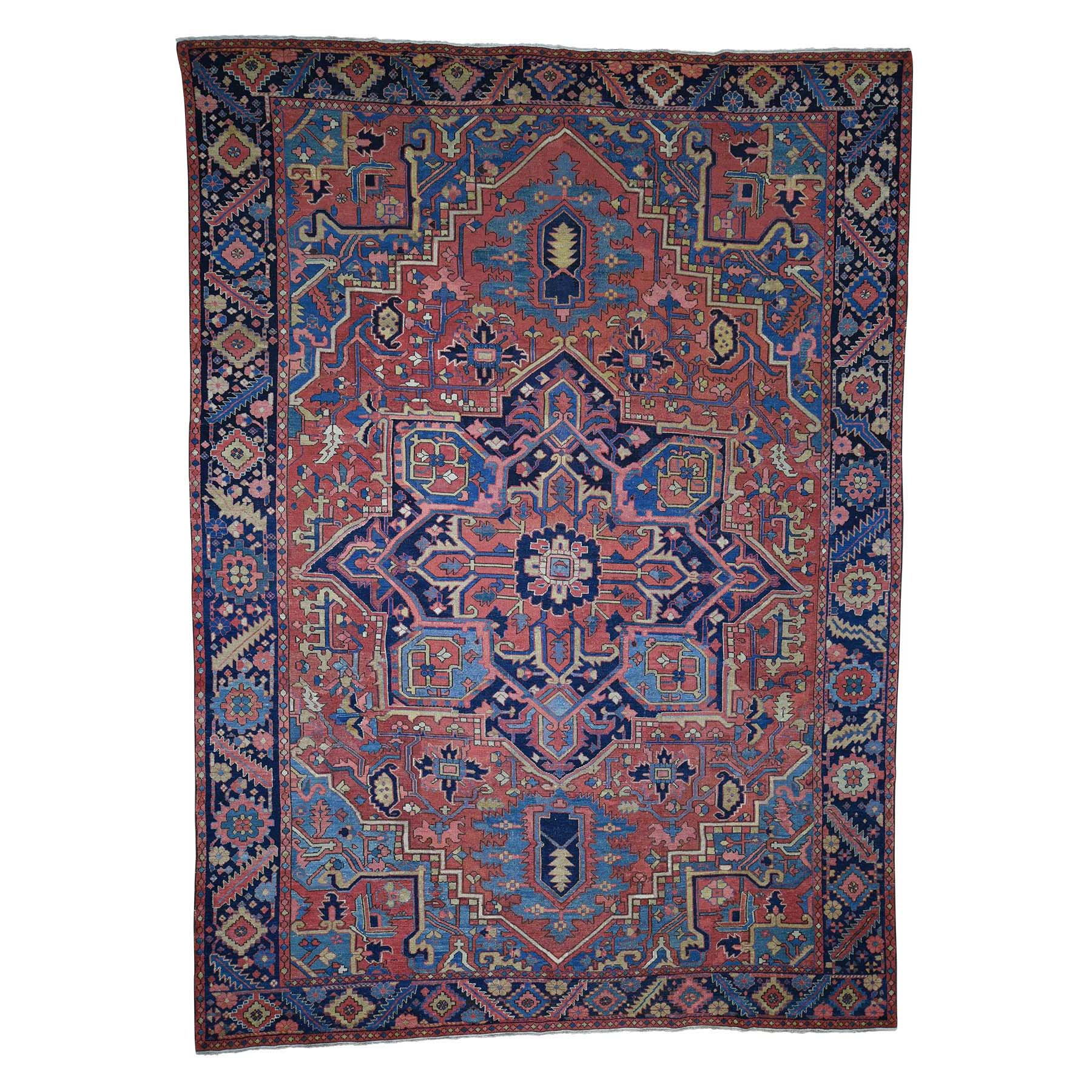 "9'6""X13'4"" Antique Persian Heriz Hand-Knotted Exc Condition Pure Wool Oriental Rug moada7ae"