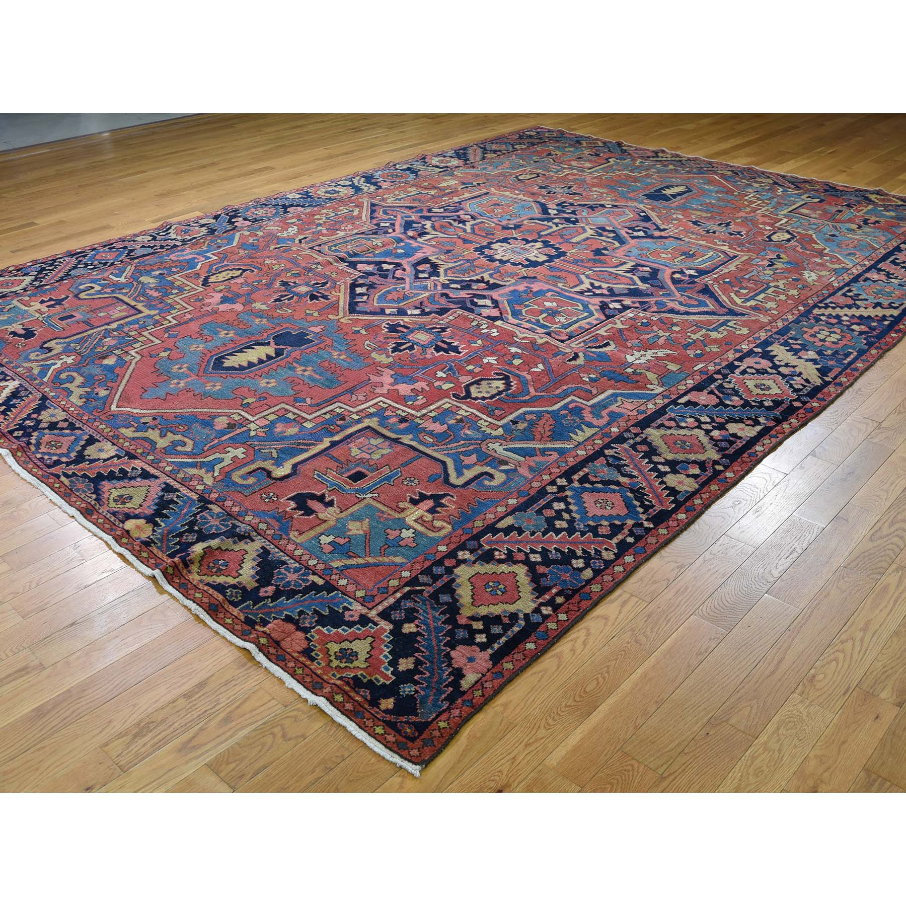 9-6 x13-4  Antique Persian Heriz Hand-Knotted Exc Condition Pure Wool Oriental Rug