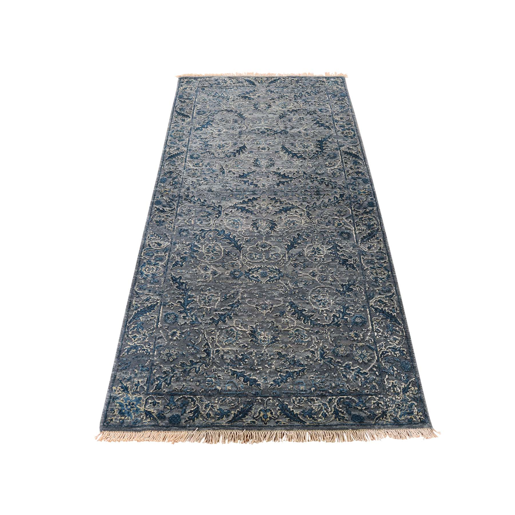 "2'8""x6' Modern Wool & Silk Blue Cast Runner Hand-Knotted Oriental Rug"
