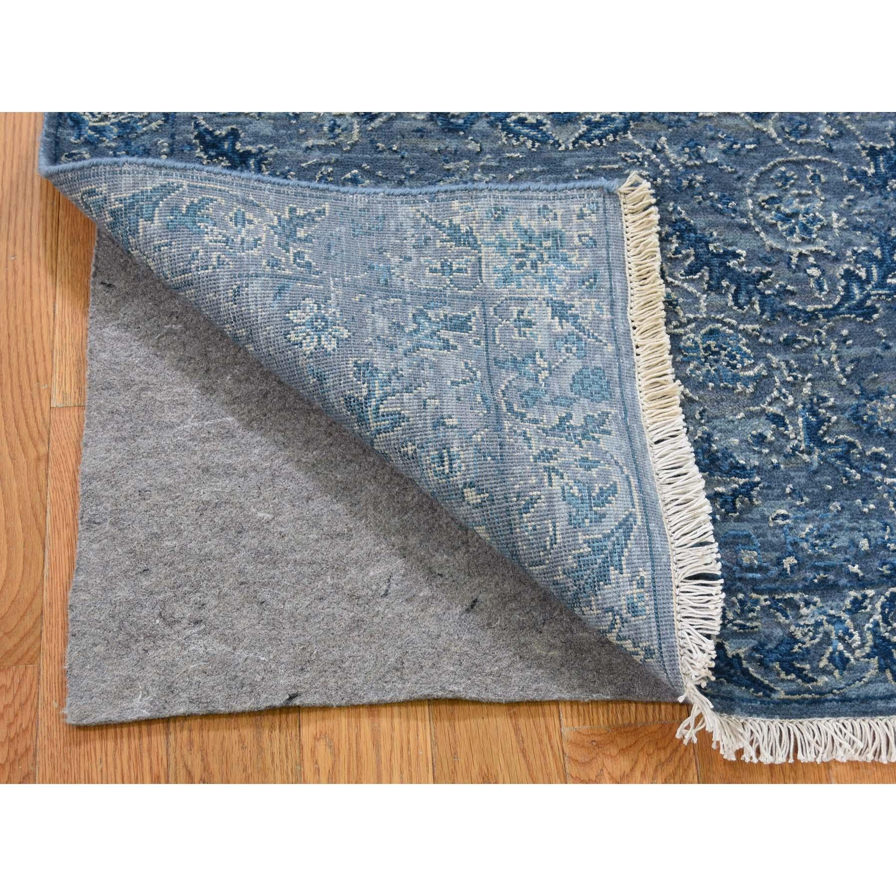 2-8 x6- Modern Wool & Silk Blue Cast Runner Hand-Knotted Oriental Rug