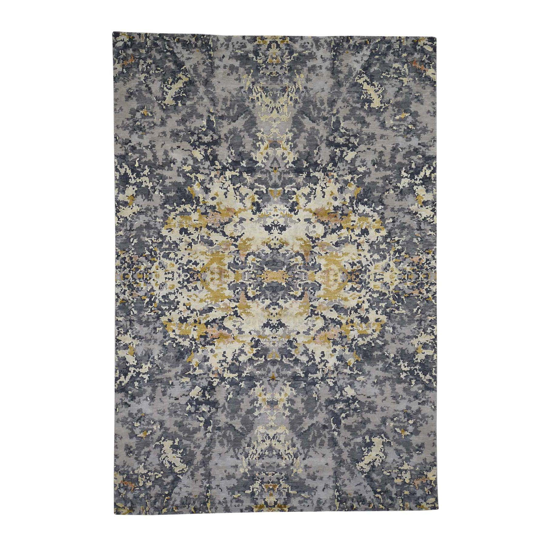 "6'1""X8'10"" Wool And Silk Abstract Design Hand-Knotted Oriental Rug moada79e"