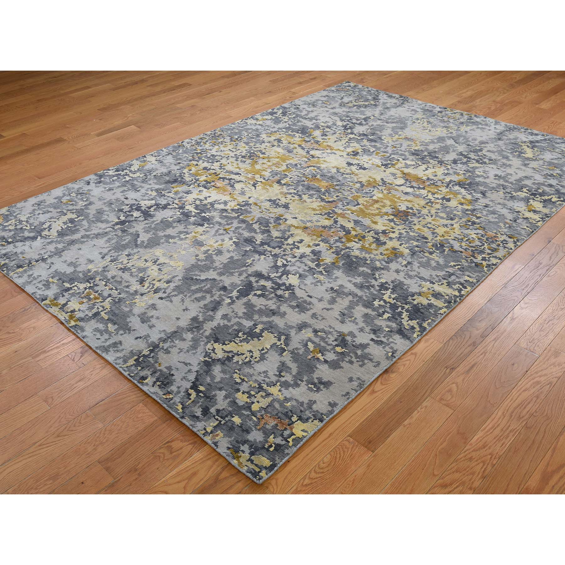 6-1 x8-10  Wool And Silk Abstract Design Hand-Knotted Oriental Rug