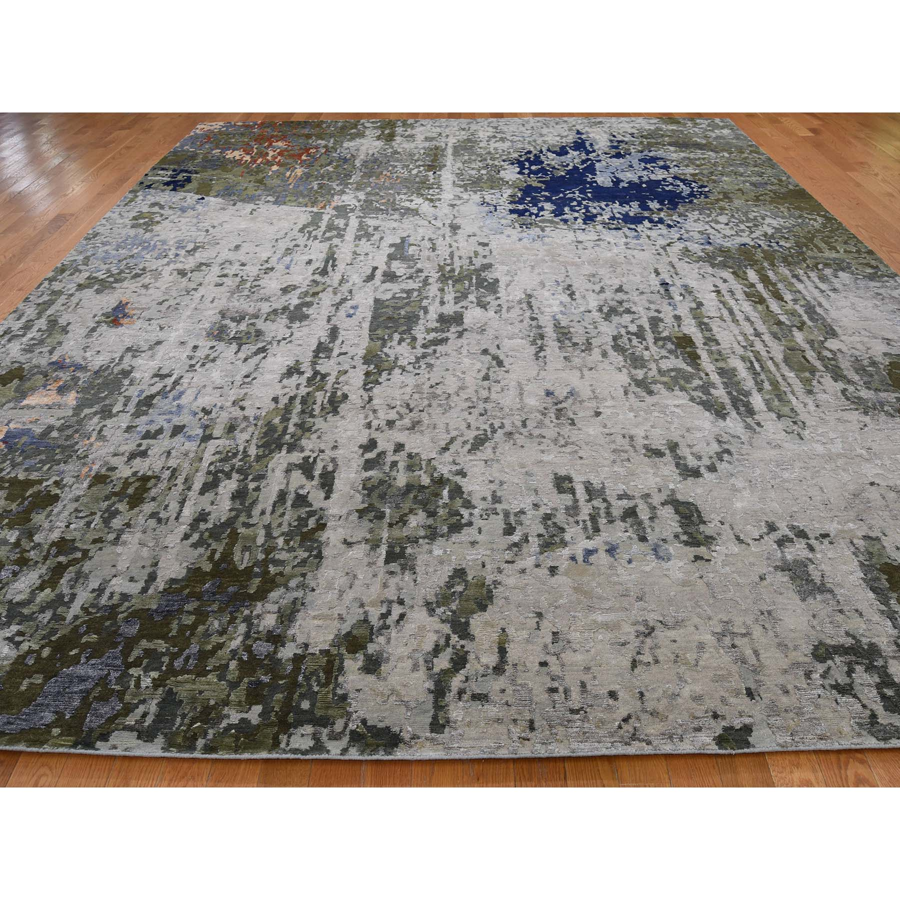 10-1 x13-10  Wool And Silk Abstract Design Hand-Knotted Oriental Rug