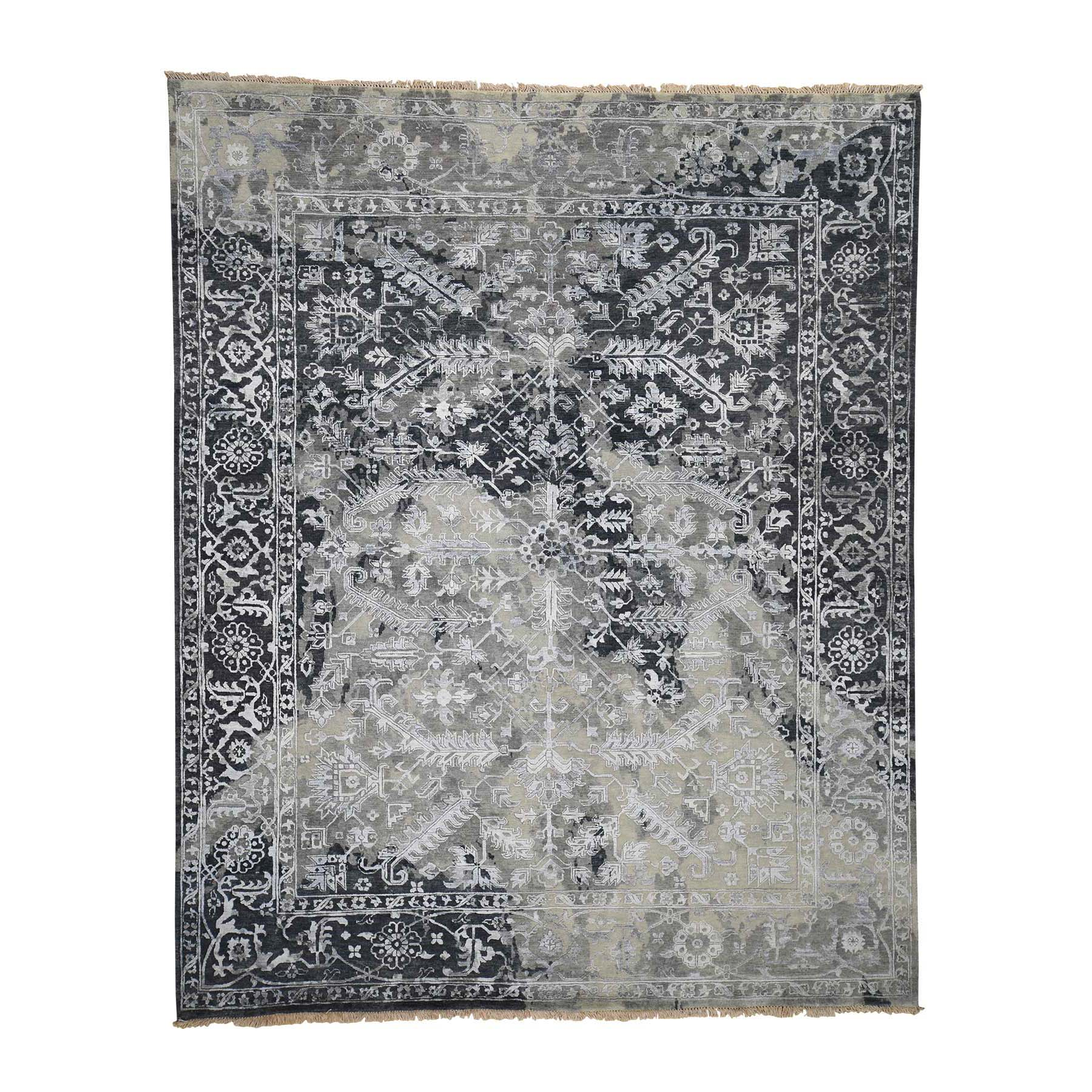 8-x10- All Over Design Broken Persian Heriz Wool And Silk Hand-Knotted Oriental Rug