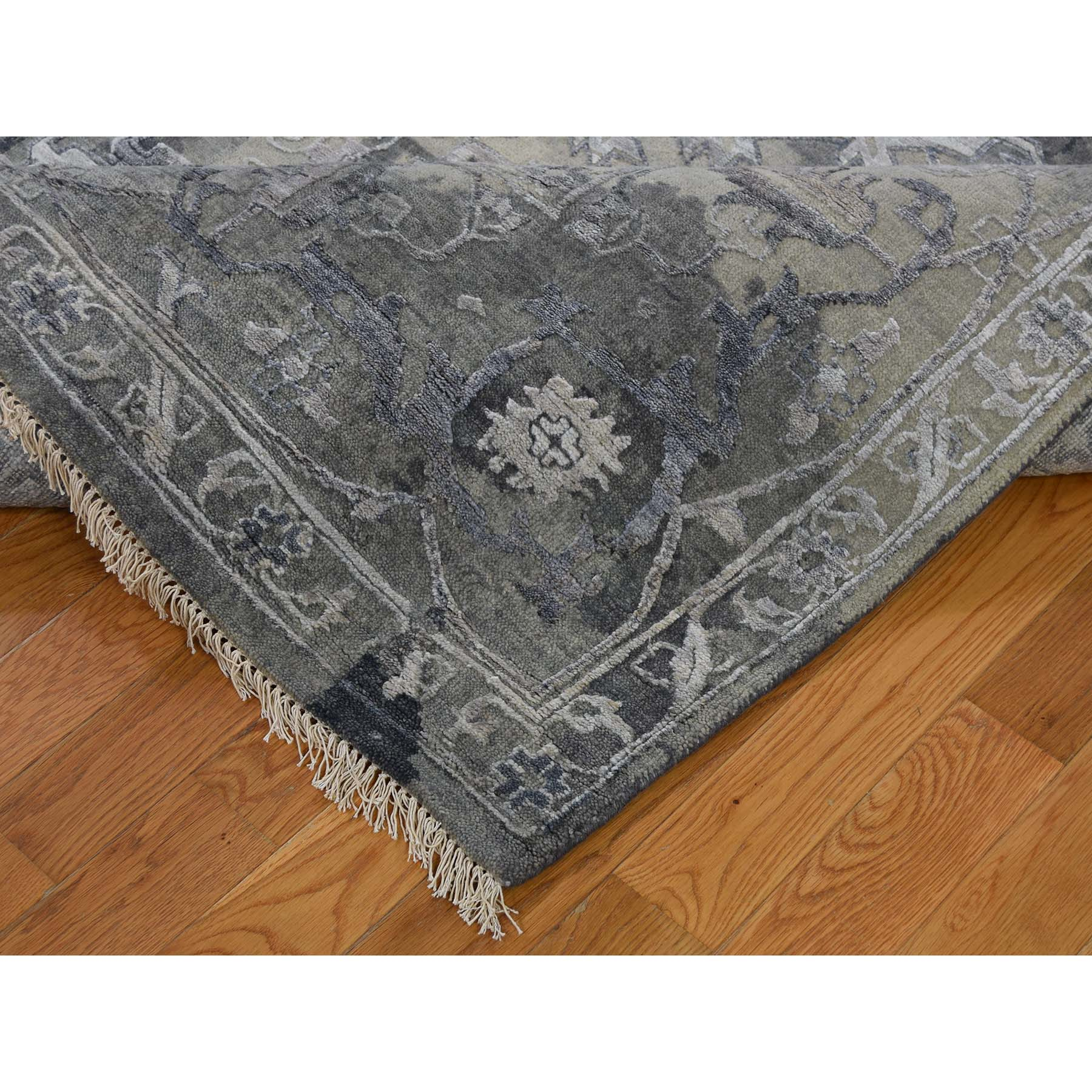 9-x11-10  All Over Design Broken Persian Heriz Wool And Silk Hand-Knotted Oriental Rug
