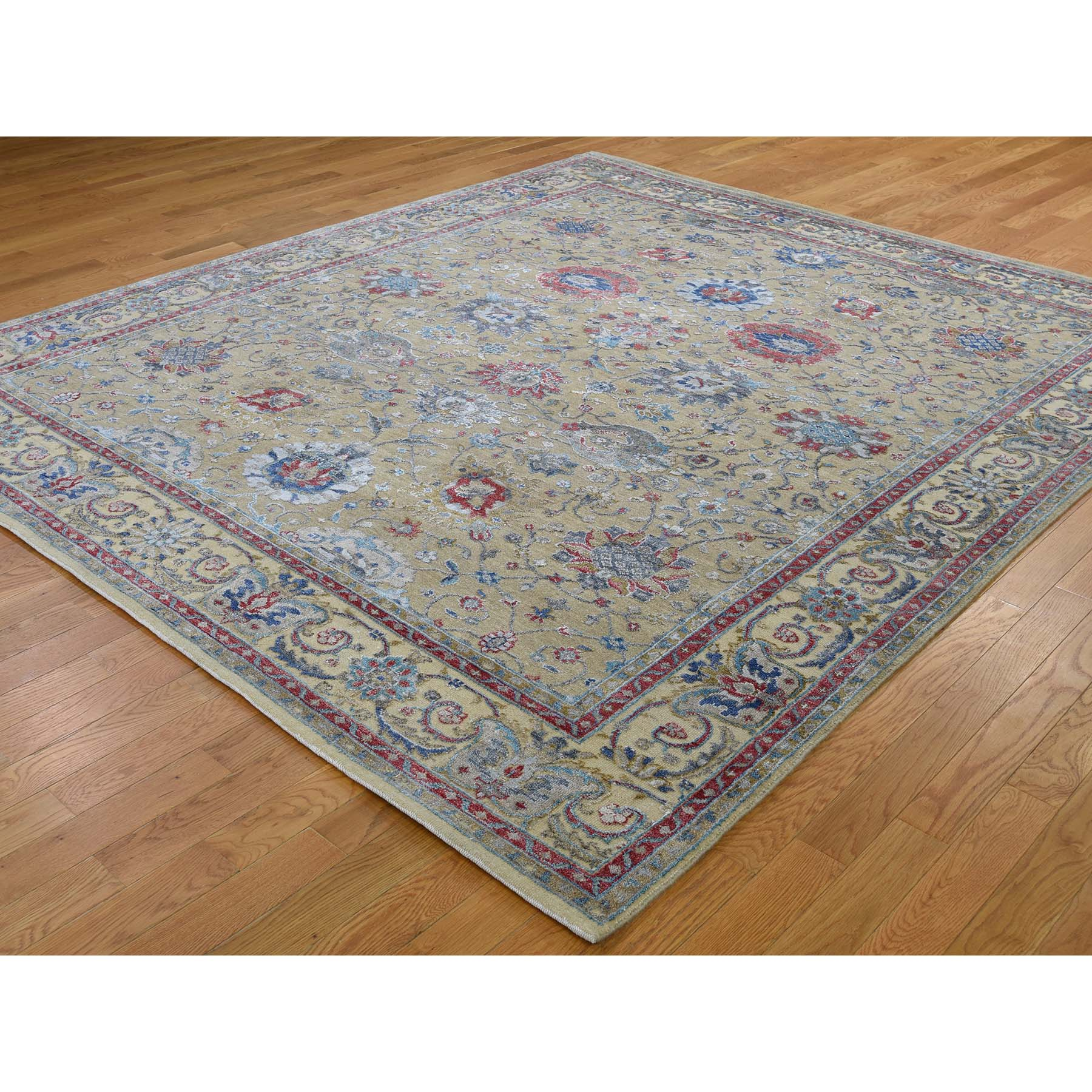 8-1 x9-7  Textured Silk With Oxidized Wool Mahal Design Hand-Knotted Oriental Rug