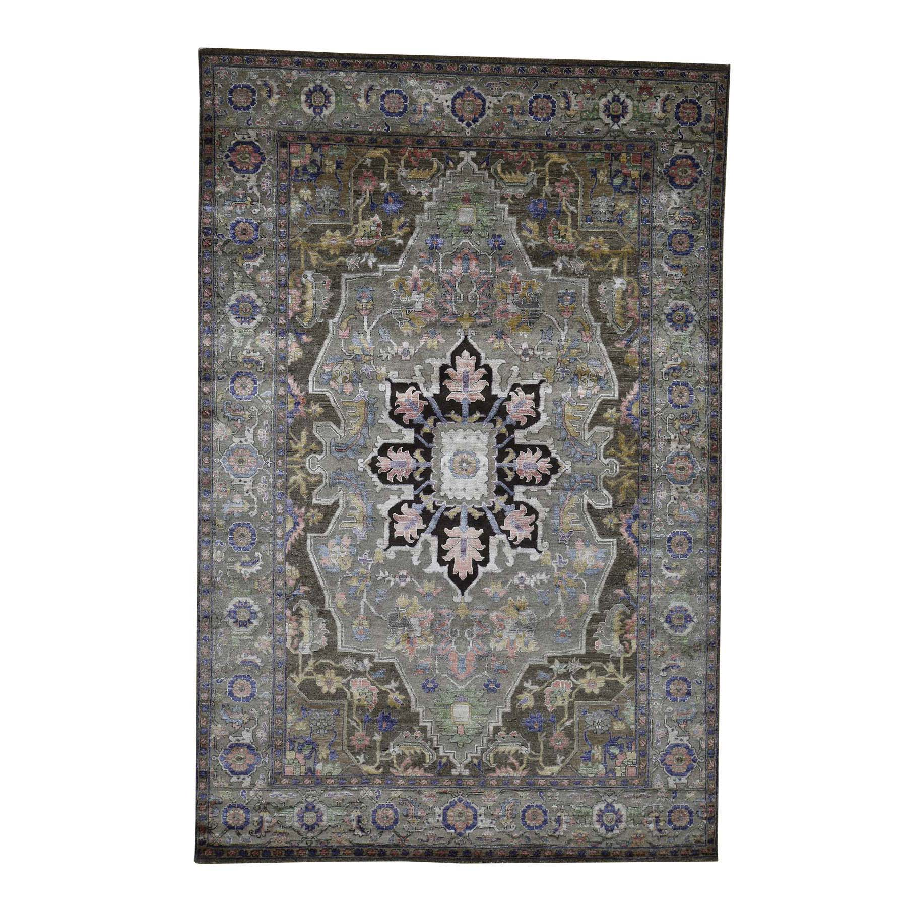 6'X9' Heriz Design Wool And Silk Hand-Knotted Oriental Rug moada8d7