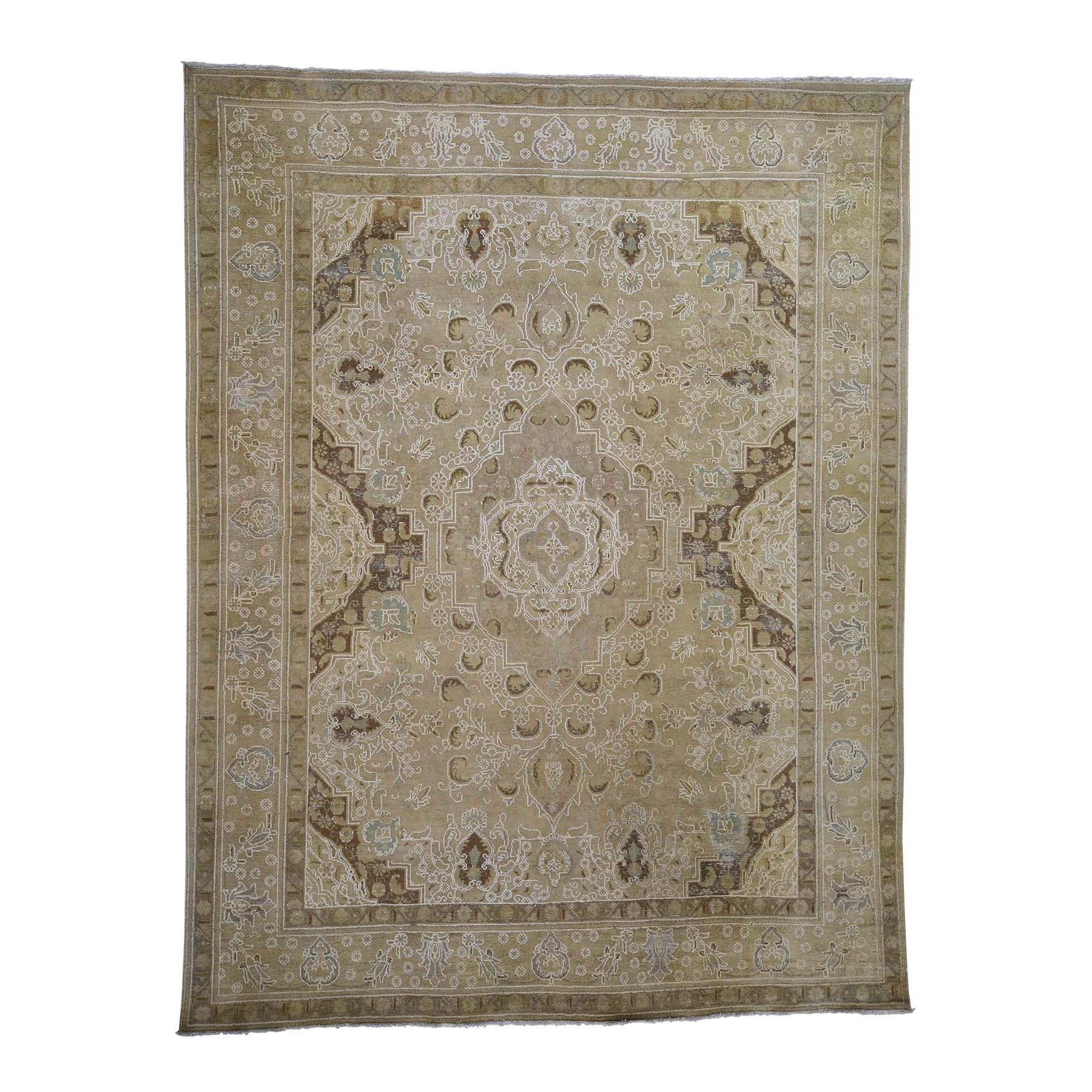 "10'1""X13' Hand-Knotted Pure Wool Vintage Tabriz Oriental Rug moada8e9"
