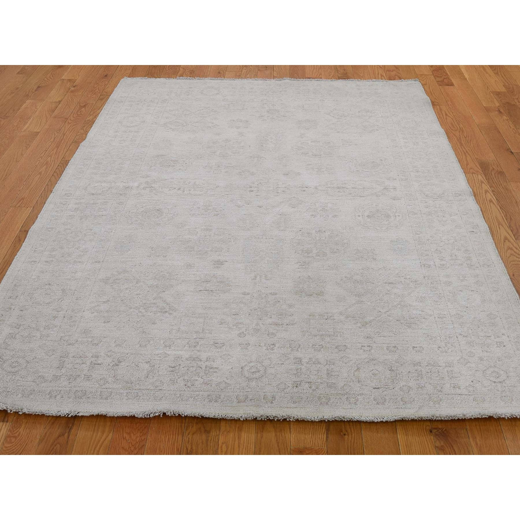 5-1 x6-10  Peshawar Washed Out Hand-Knotted Pure Wool Oriental Rug
