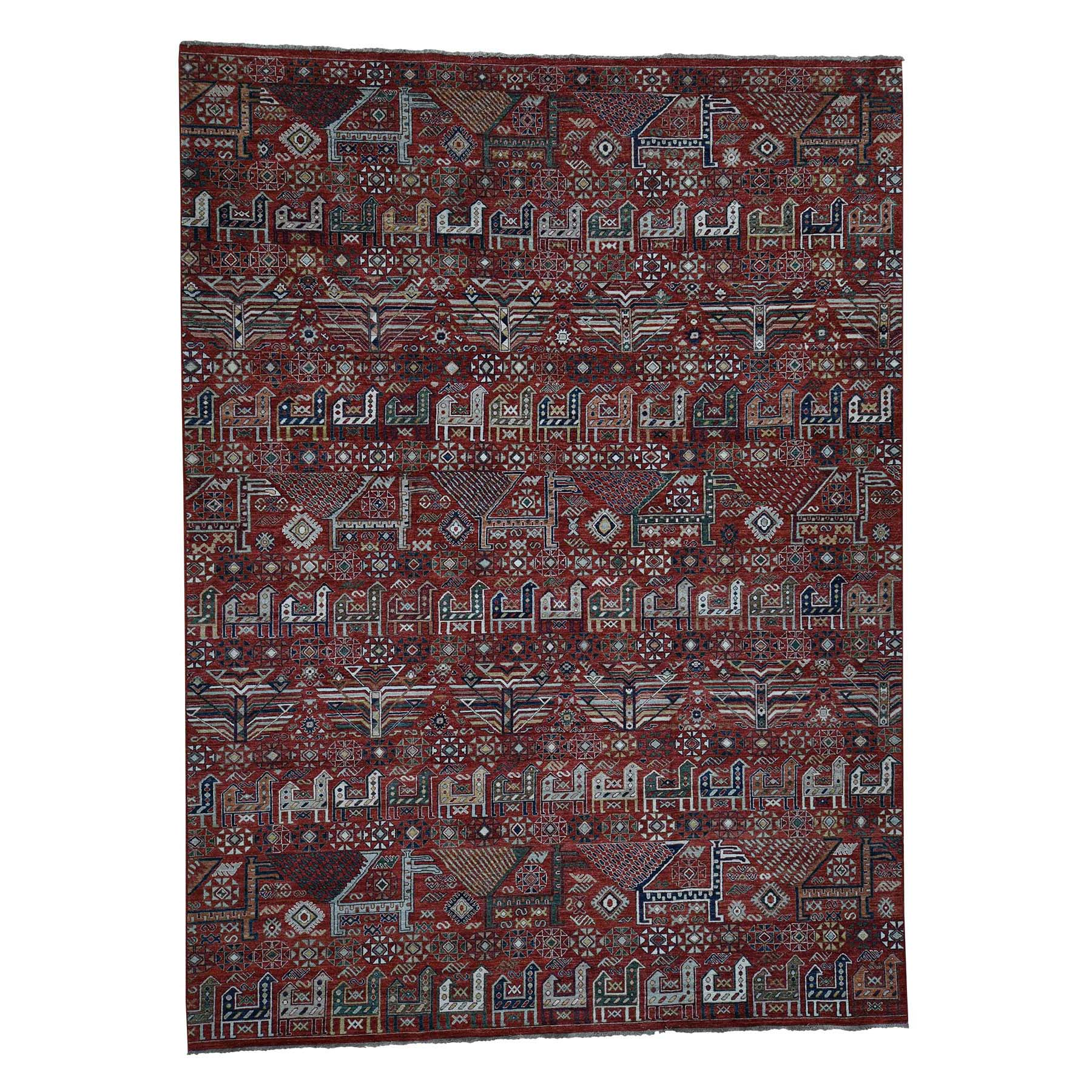 "10'2""X13'8"" Akstafa Design Antiqued Caucasian Hand-Knotted Pure Wool Oriental Rug moada9b7"