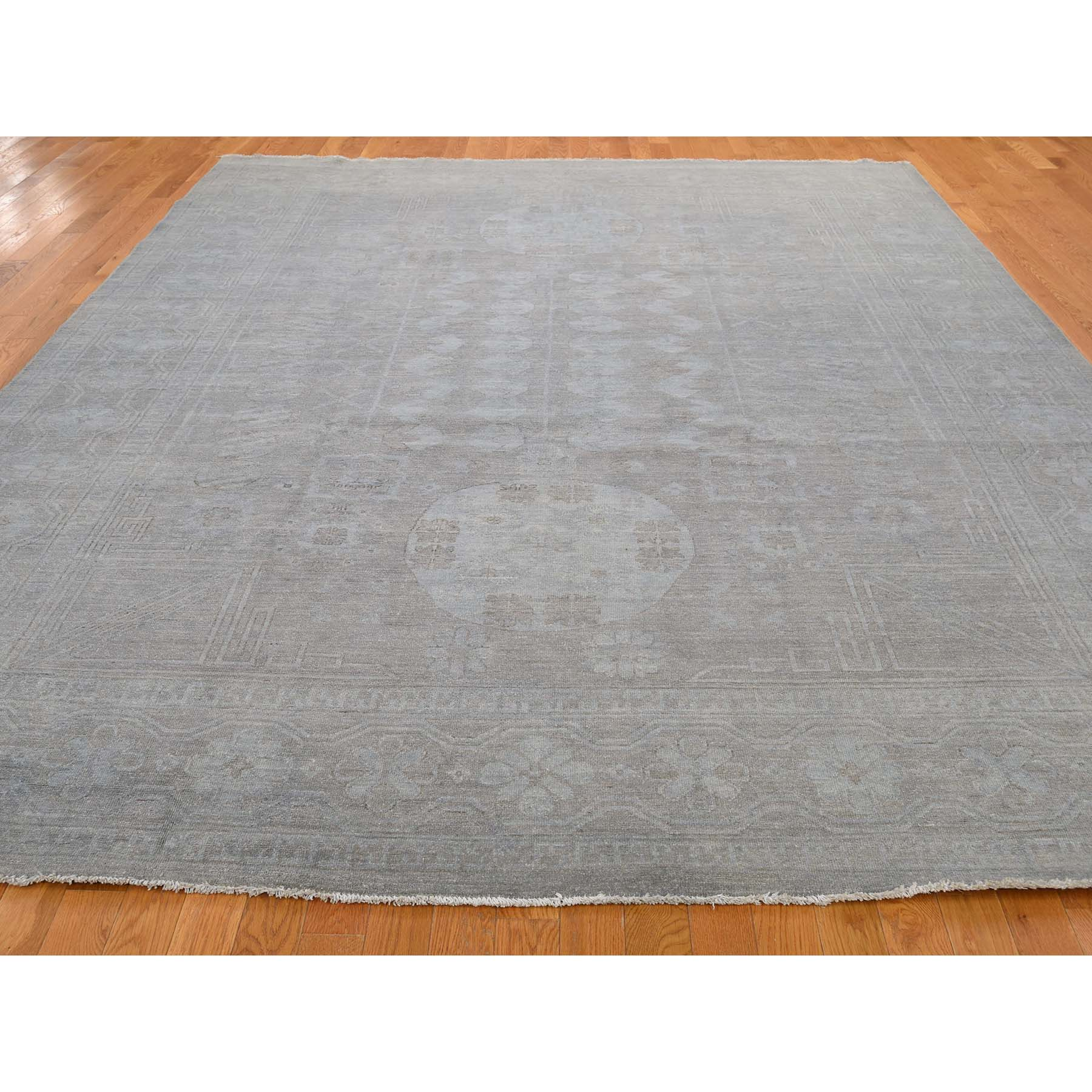 9-x11-7  Pure Wool Overdyed Silver Washed Khotan Hand-Knotted Oriental Rug