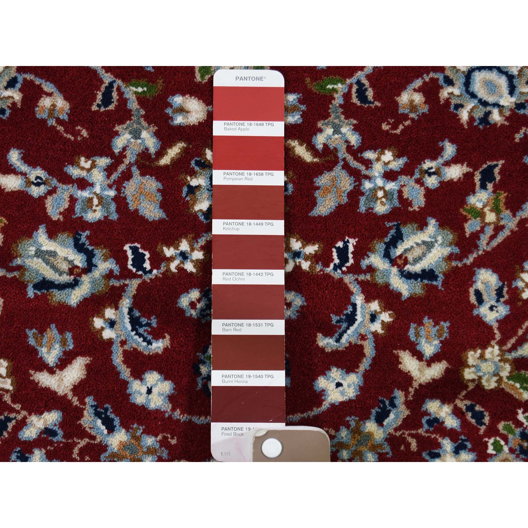 2-9 x6-3  Wool and Silk 250 Kpsi Red Nain Hand-Knotted Oriental Runner Rug