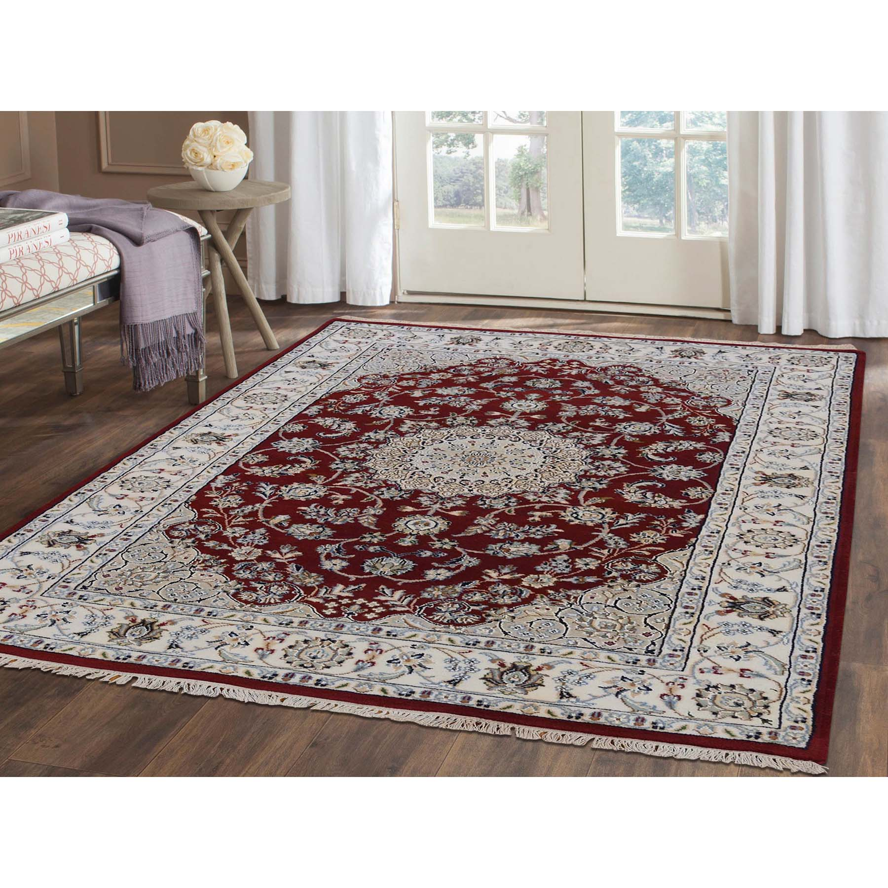 3-10 x6- 300 Kpsi Red Nain Wool and Silk Hand-Knotted Oriental Rug