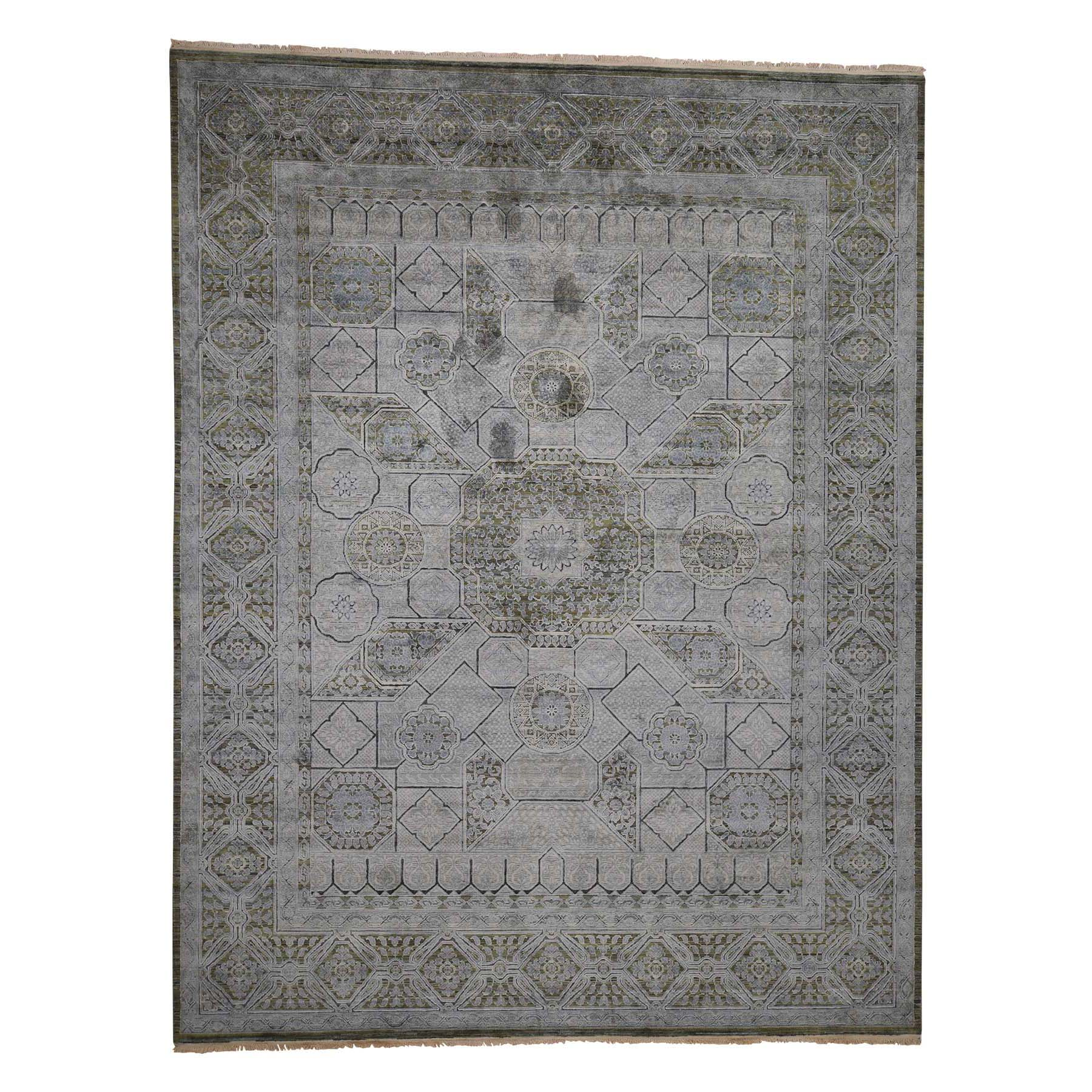 "9'X11'7"" Mamluk Design Silk With Textured Oxidized Wool Hand-Knotted Oriental Rug moadb0a7"