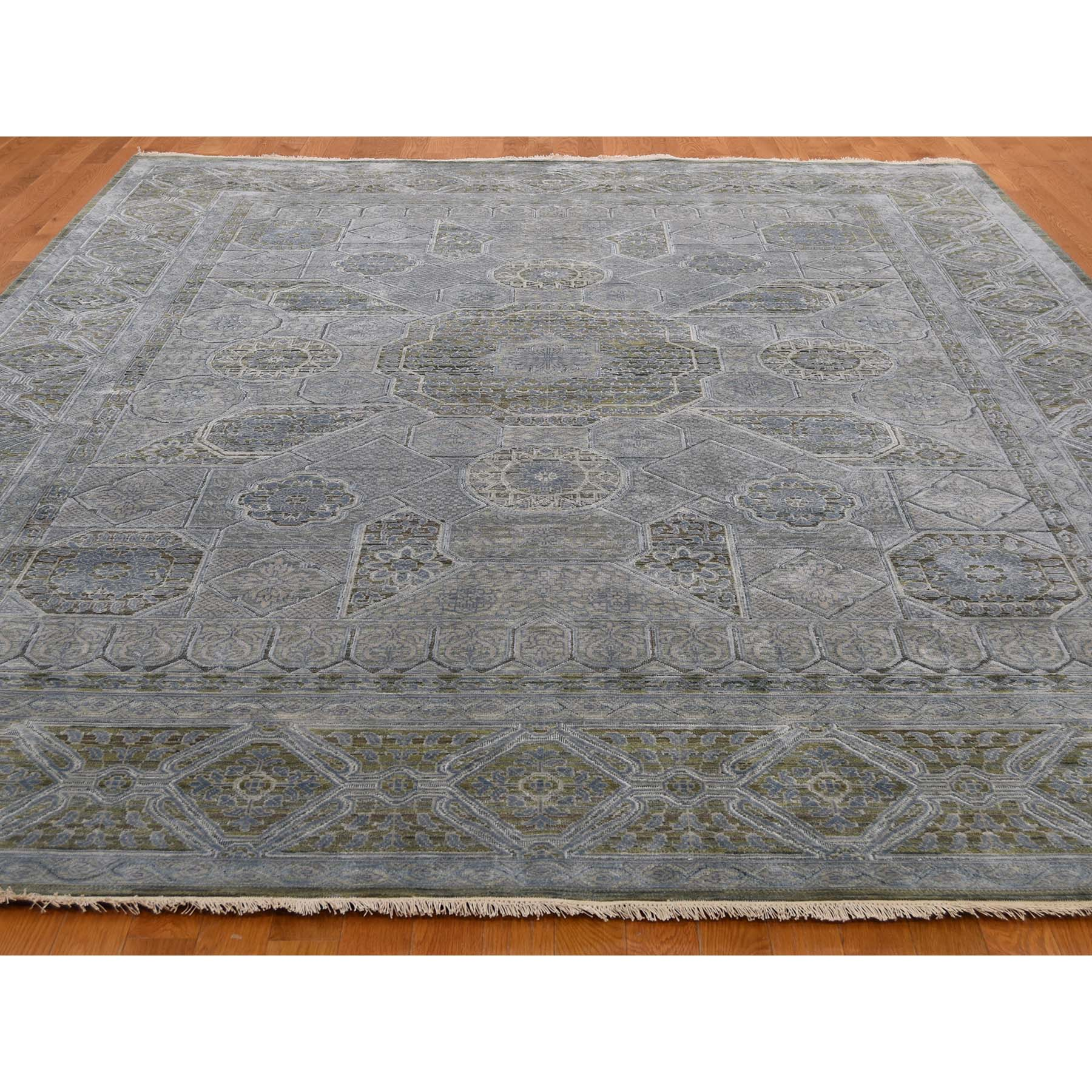 9-x11-7  Mamluk Design Silk With Textured Oxidized Wool Hand-Knotted Oriental Rug