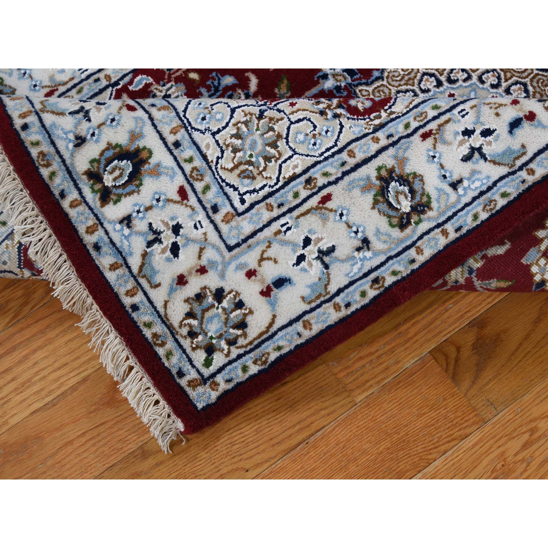 2-8 x12-2  300 KPSI Red Wool and Silk Runner Nain Hand Knotted Oriental Rug