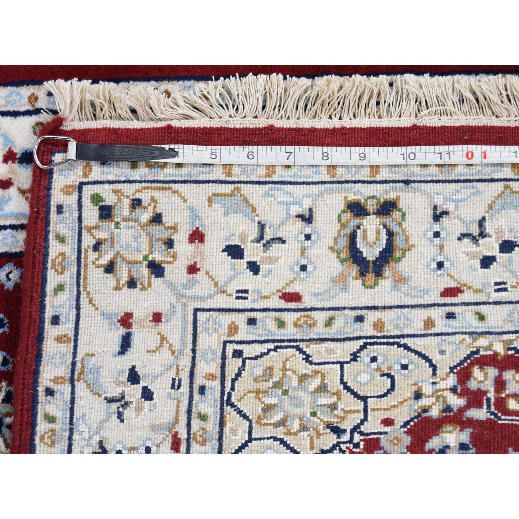 2-8 x12-2  250 KPSI Red Wool and Silk Runner Nain Hand Knotted Oriental Rug