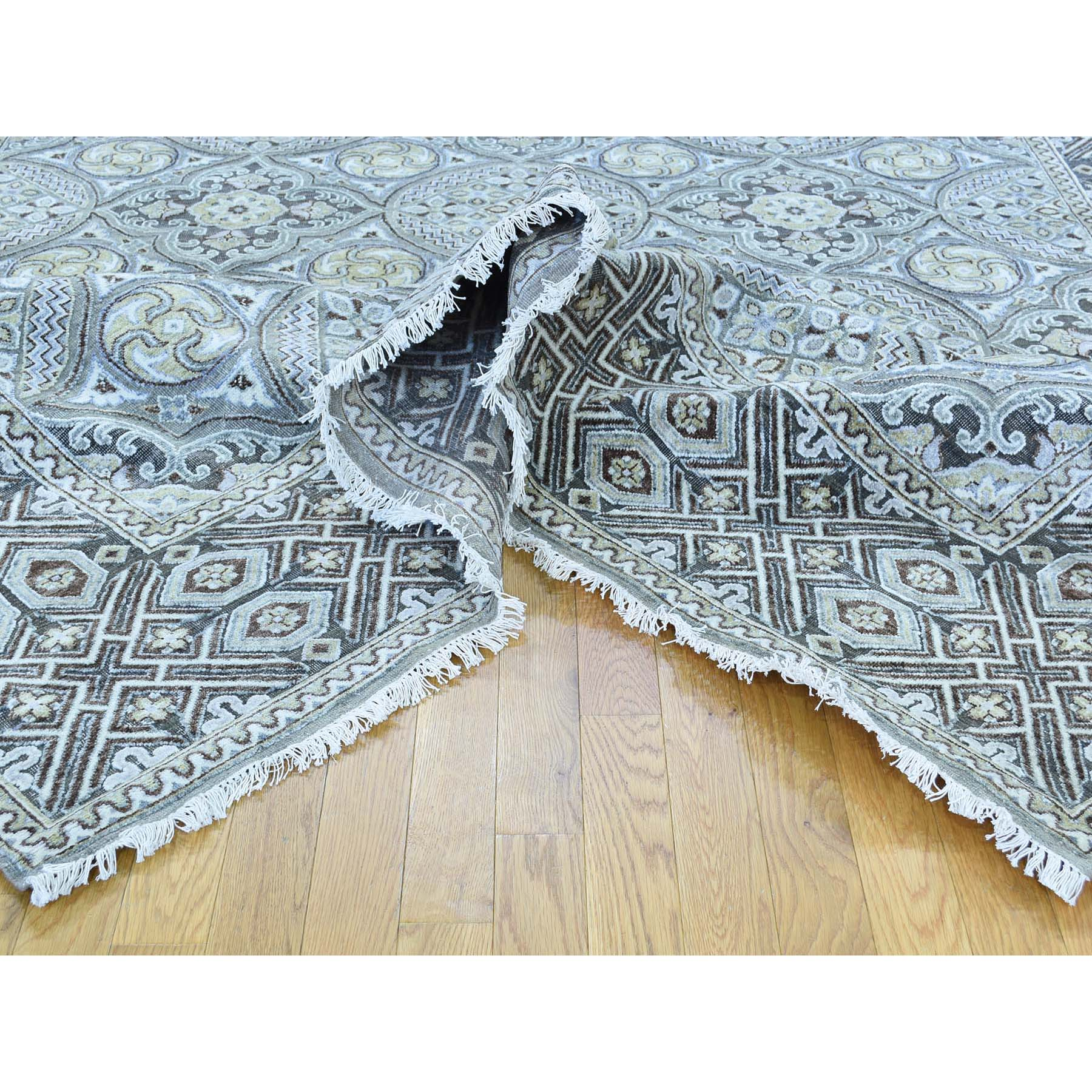 10-1 x14-4  Mughal Inspired Medallions Oxidized Wool and Silk Hand-Knotted Oriental Rug