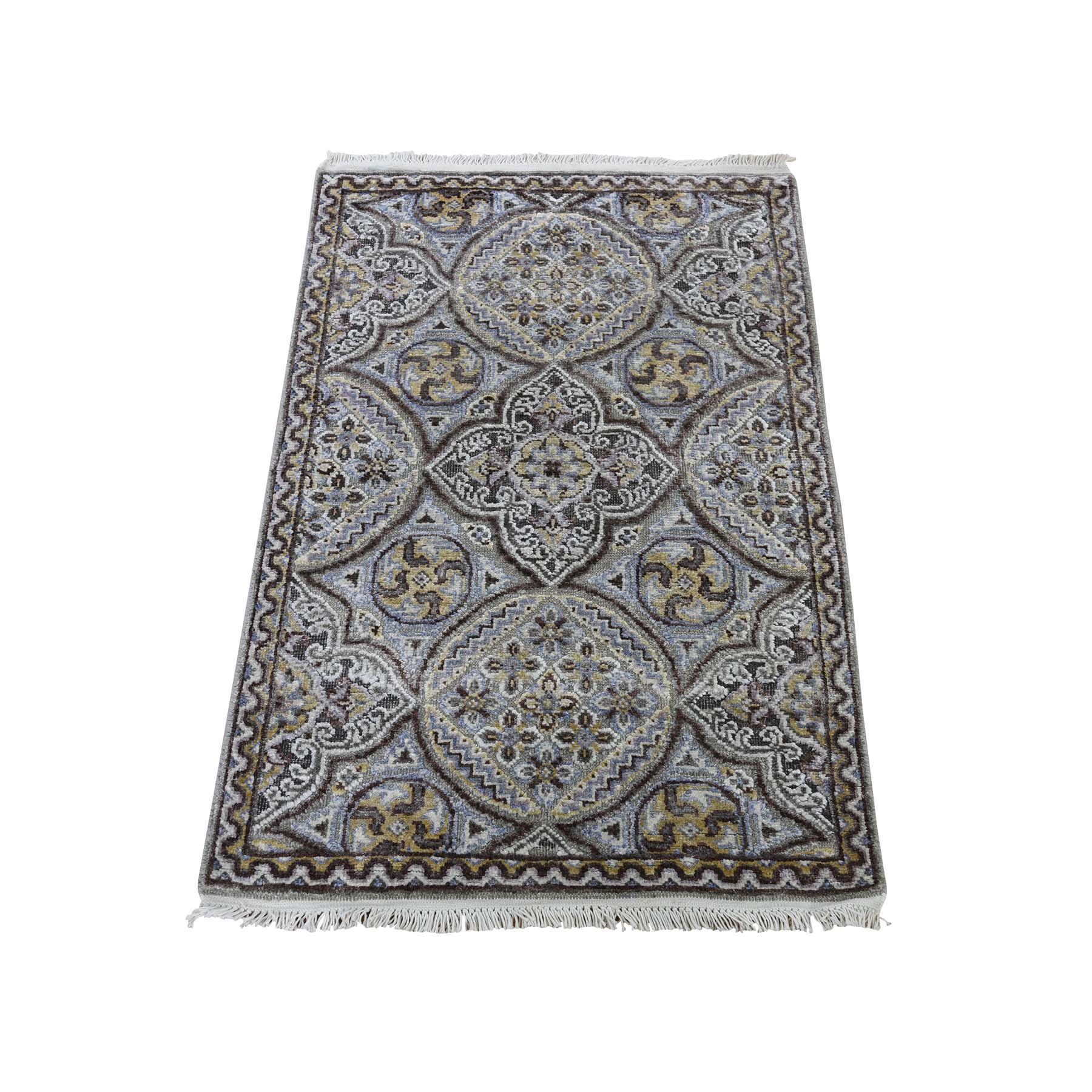 "2'1""X3'2"" Mughal Inspired Medallions Oxidized Wool And Silk Hand-Knotted Oriental Rug moadb08c"