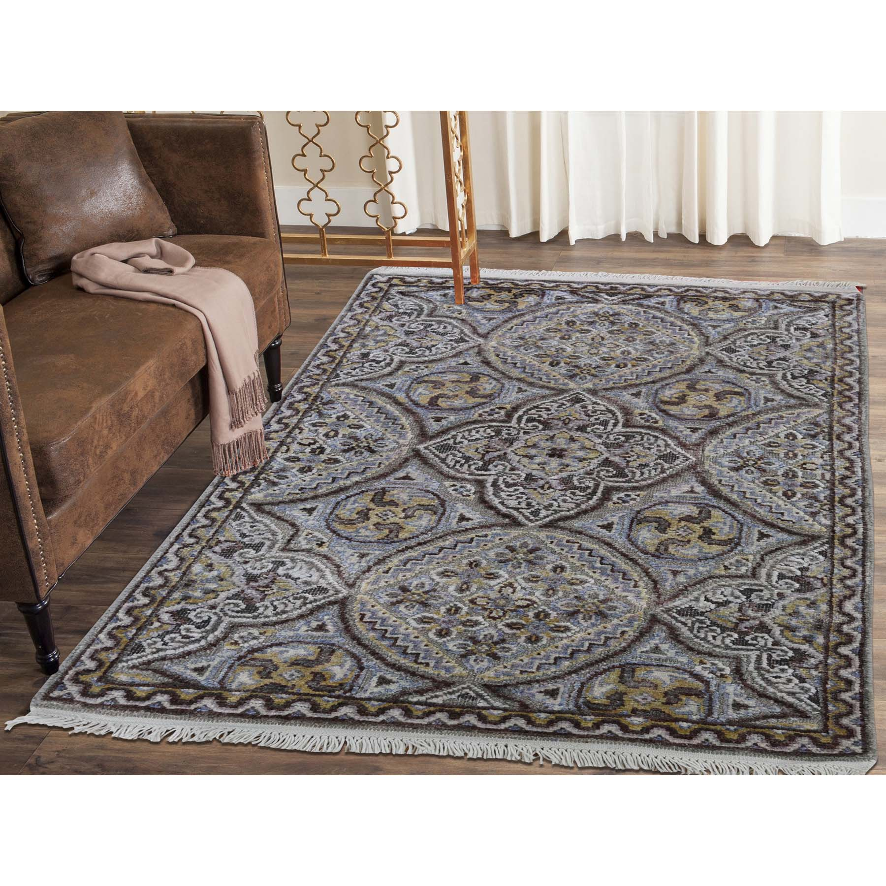 2-1 x3-2  Mughal Inspired Medallions Oxidized Wool and Silk Hand-Knotted Oriental Rug