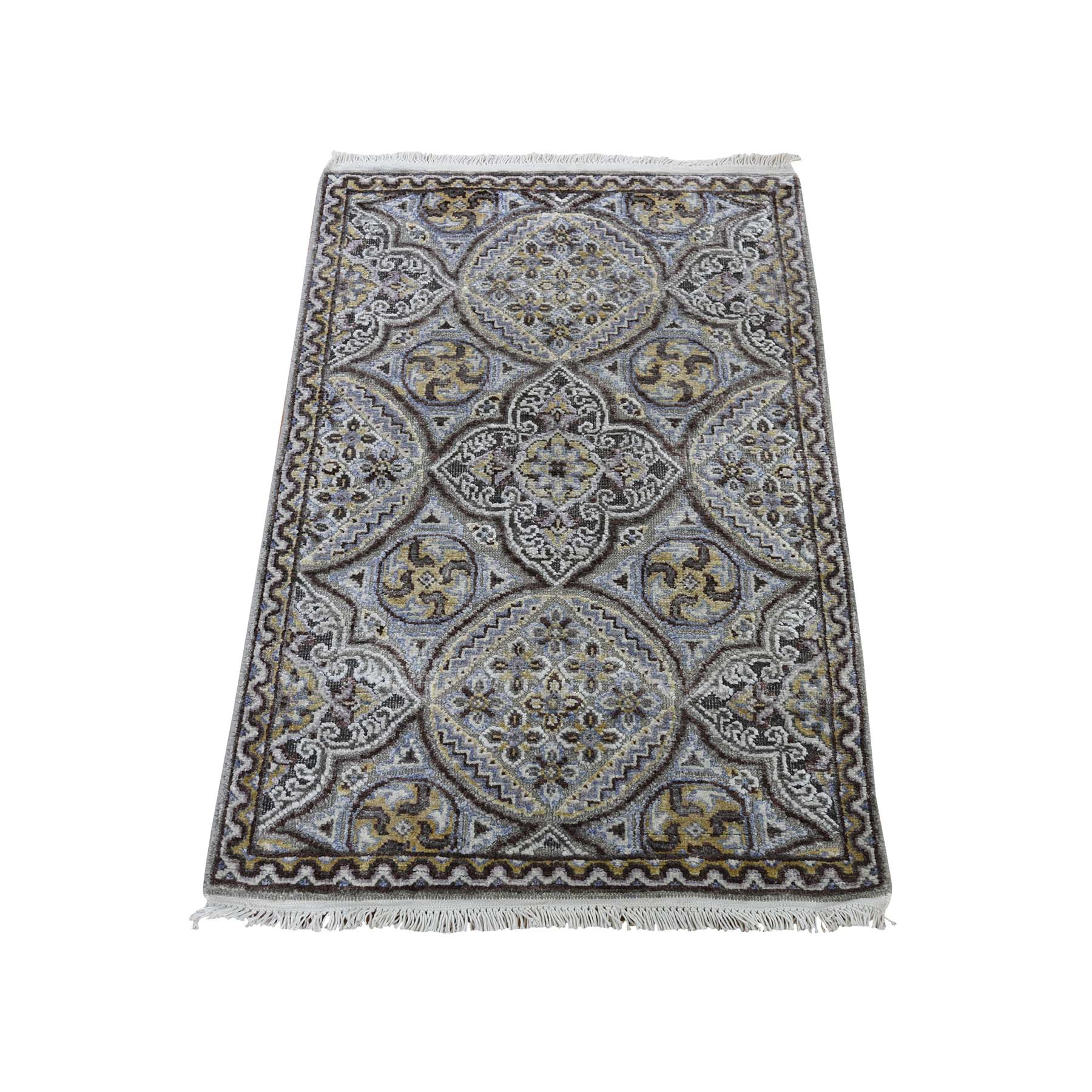 "2'1""X3'1"" Mughal Inspired Medallions Oxidized Wool And Silk Hand-Knotted Oriental Rug moadb086"