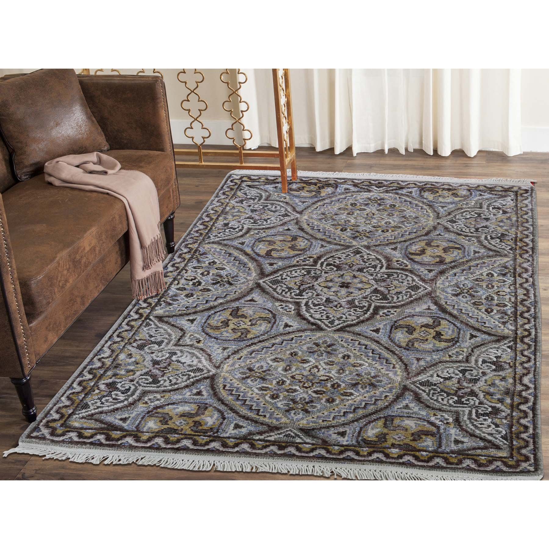 2-1 x3-1  Mughal Inspired Medallions Oxidized Wool and Silk Hand-Knotted Oriental Rug