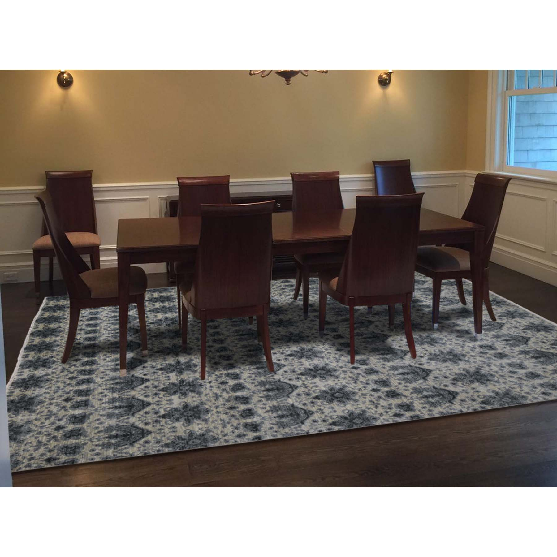 9-x12-2  On Clerance Hand Knotted Wool and Silk Transitional Modern Oriental Rug