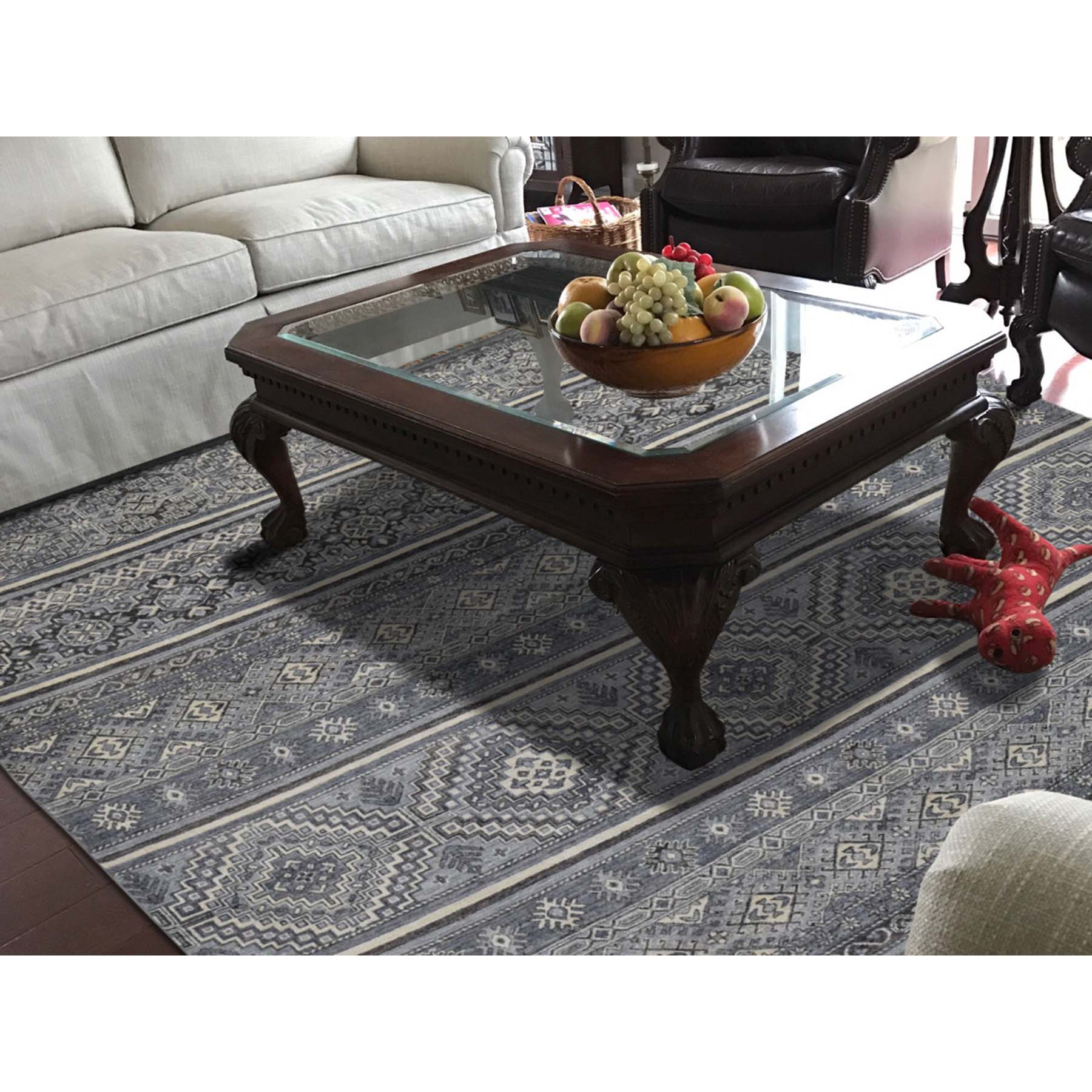 8-x9-9  Hand-Knotted Natural Colors Super Kazak Khorjin Design Oriental Rug