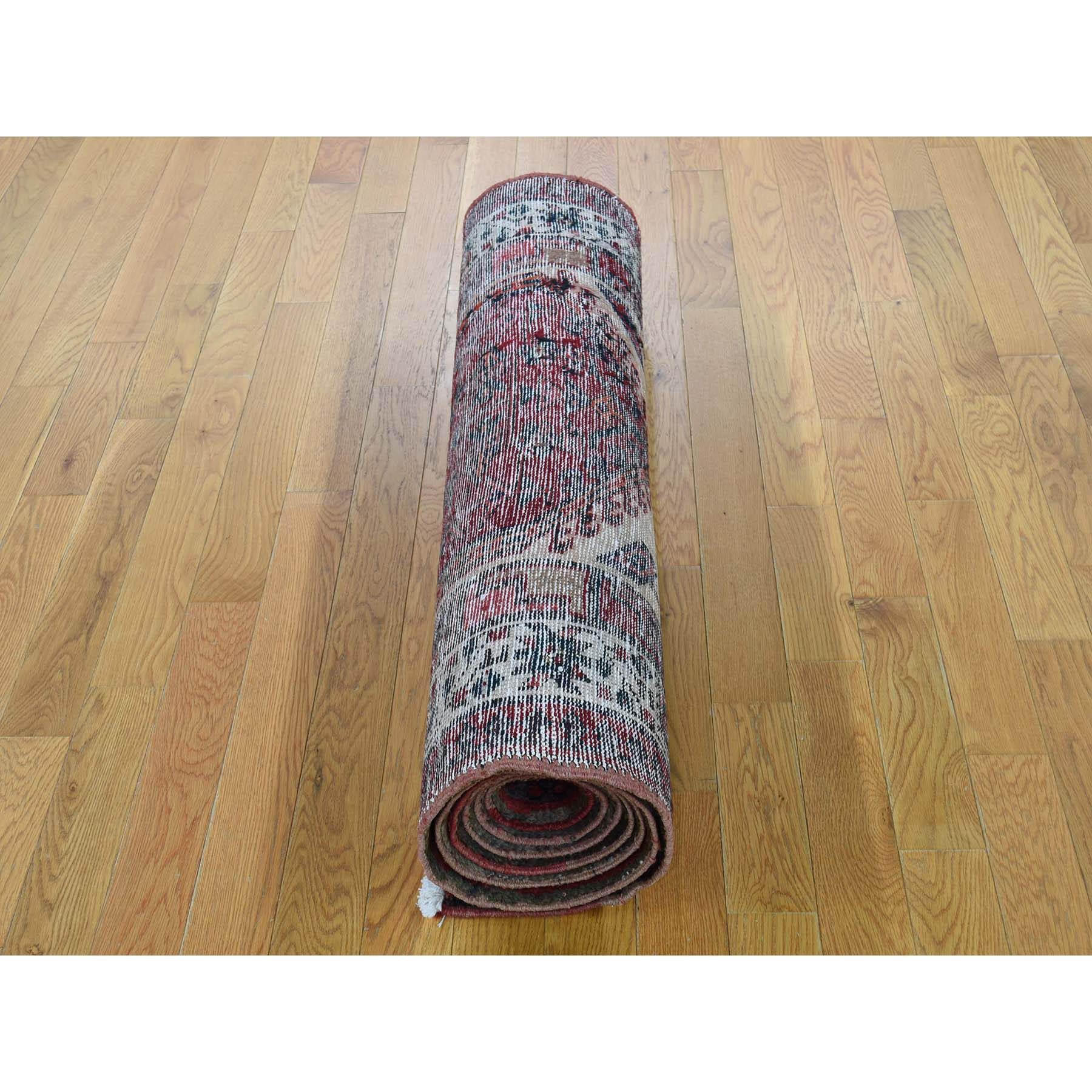 3-5 x10-5  Pure Wool Semi Antique Persian Serab Wide Runner Hand-Knotted Oriental Rug