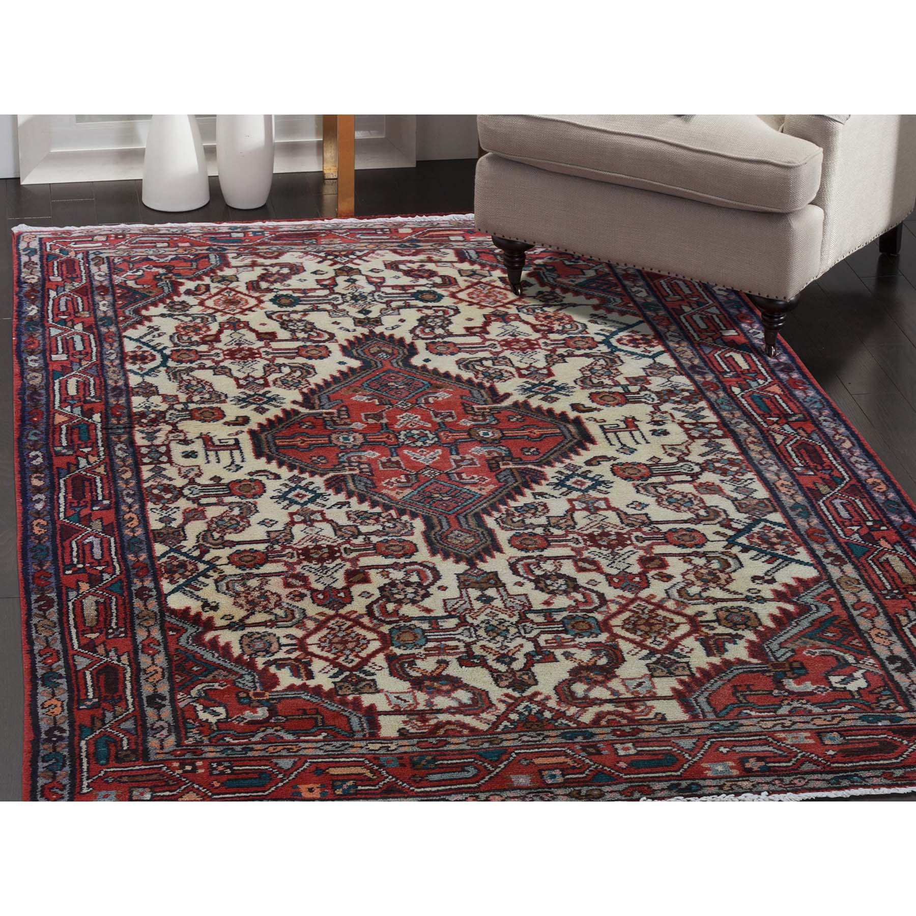 3-4 x5- Pure Wool Semi Antique Persian Hamadan Mint Condition Hand-Knotted Oriental Rug