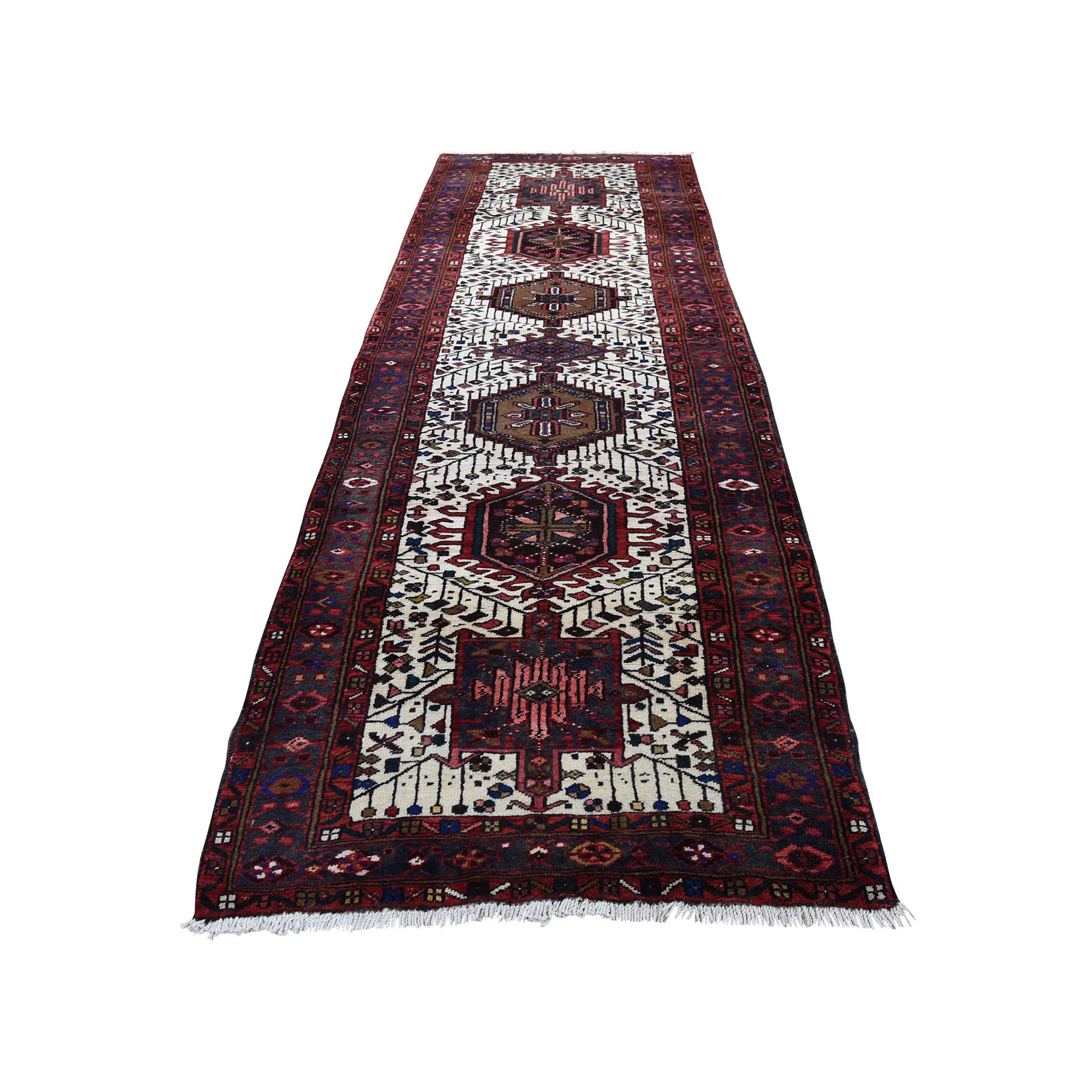 "3'1""x10'10"" Karajeh Ivory Full Pile Pure Wool Runner Semi Antique Persian Hand-Knotted Oriental Rug"