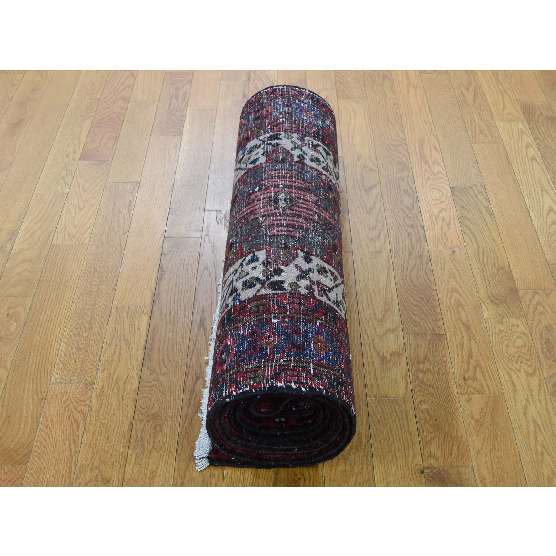 3-1 x10-10  Karajeh Ivory Full Pile Pure Wool Runner Semi Antique Persian Hand-Knotted Oriental Rug