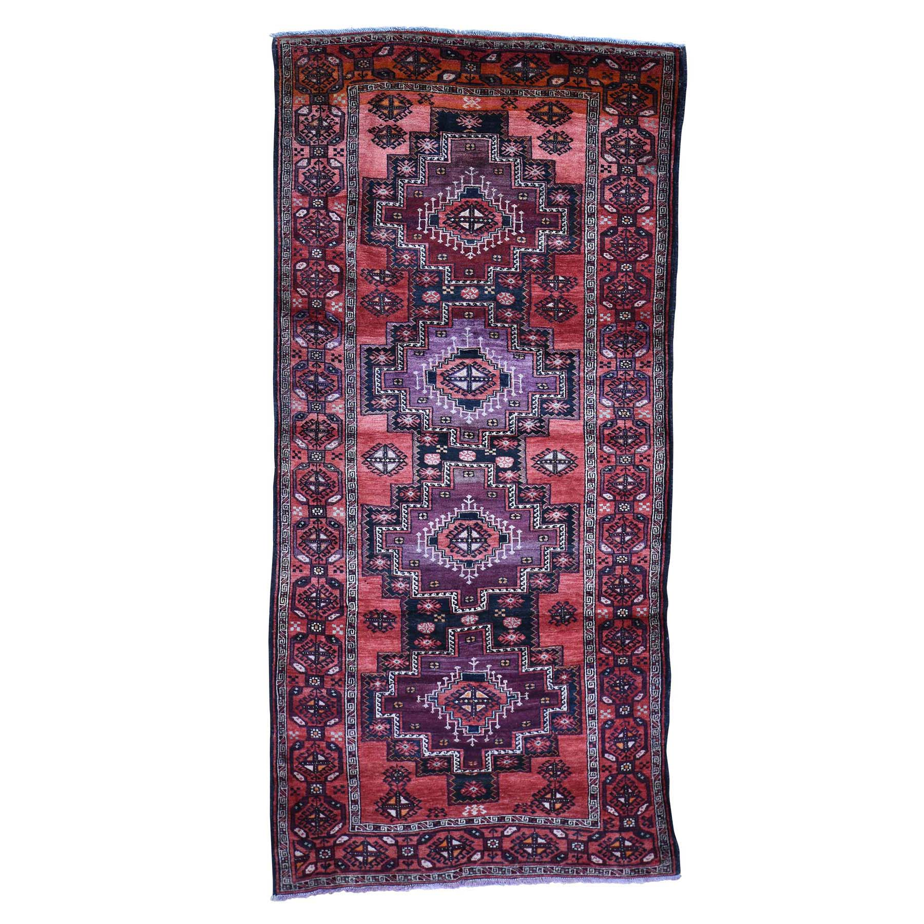 5'X10' Pure Wool Wide Runner Semi Antique Turkoman Village Hand-Knotted Oriental Rug moadba86