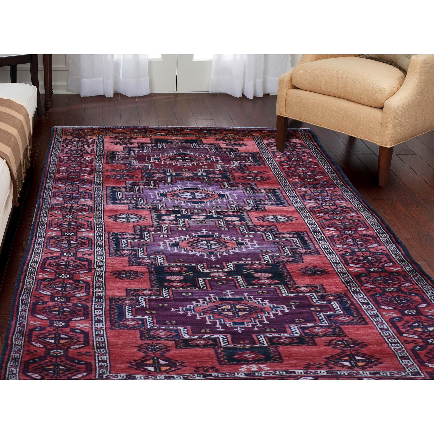 5-x10- Pure Wool Wide Runner Semi Antique Turkoman Village Hand-Knotted Oriental Rug
