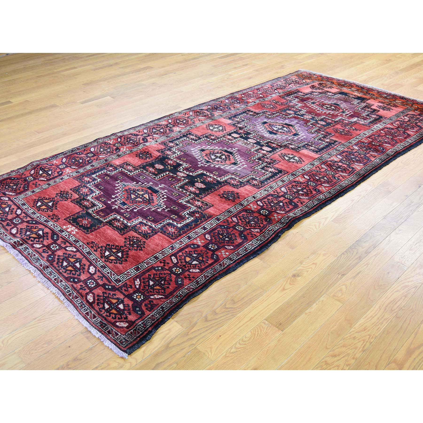 5-x10- Pure Wool Wide Runner Semi Antique Turkoman Village Hand-Knotted Oriental Rug