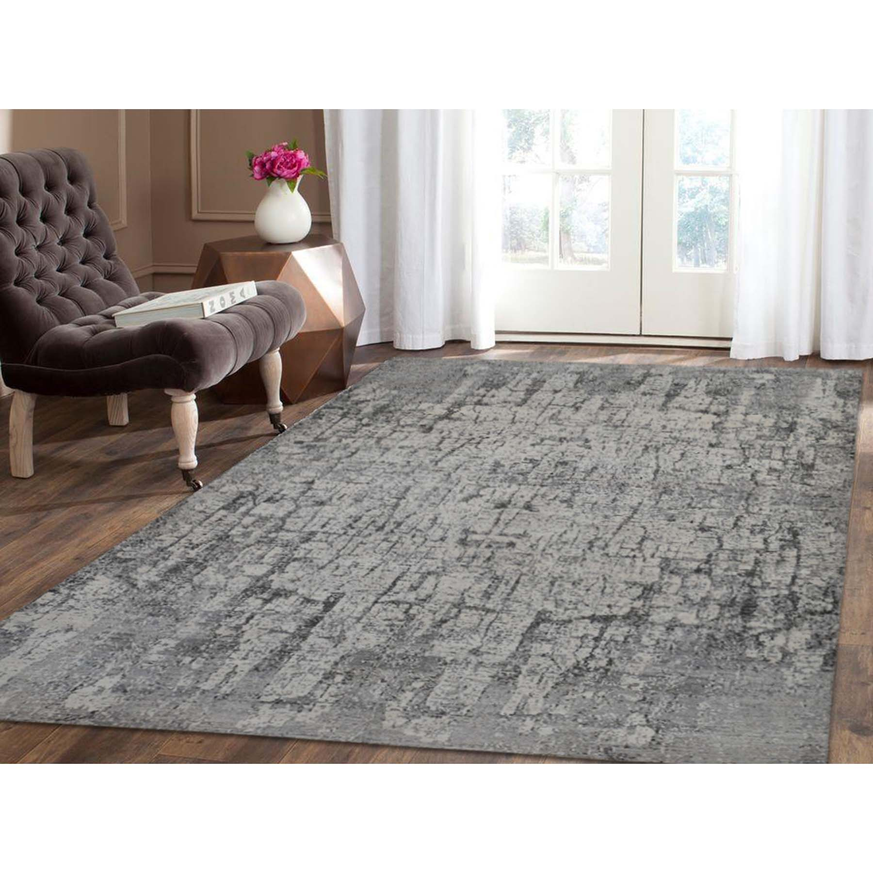 6-x9- Abstract Hand-Knotted Hi-Lo Pile THE TREE BARK Soft Wool Oriental Rug