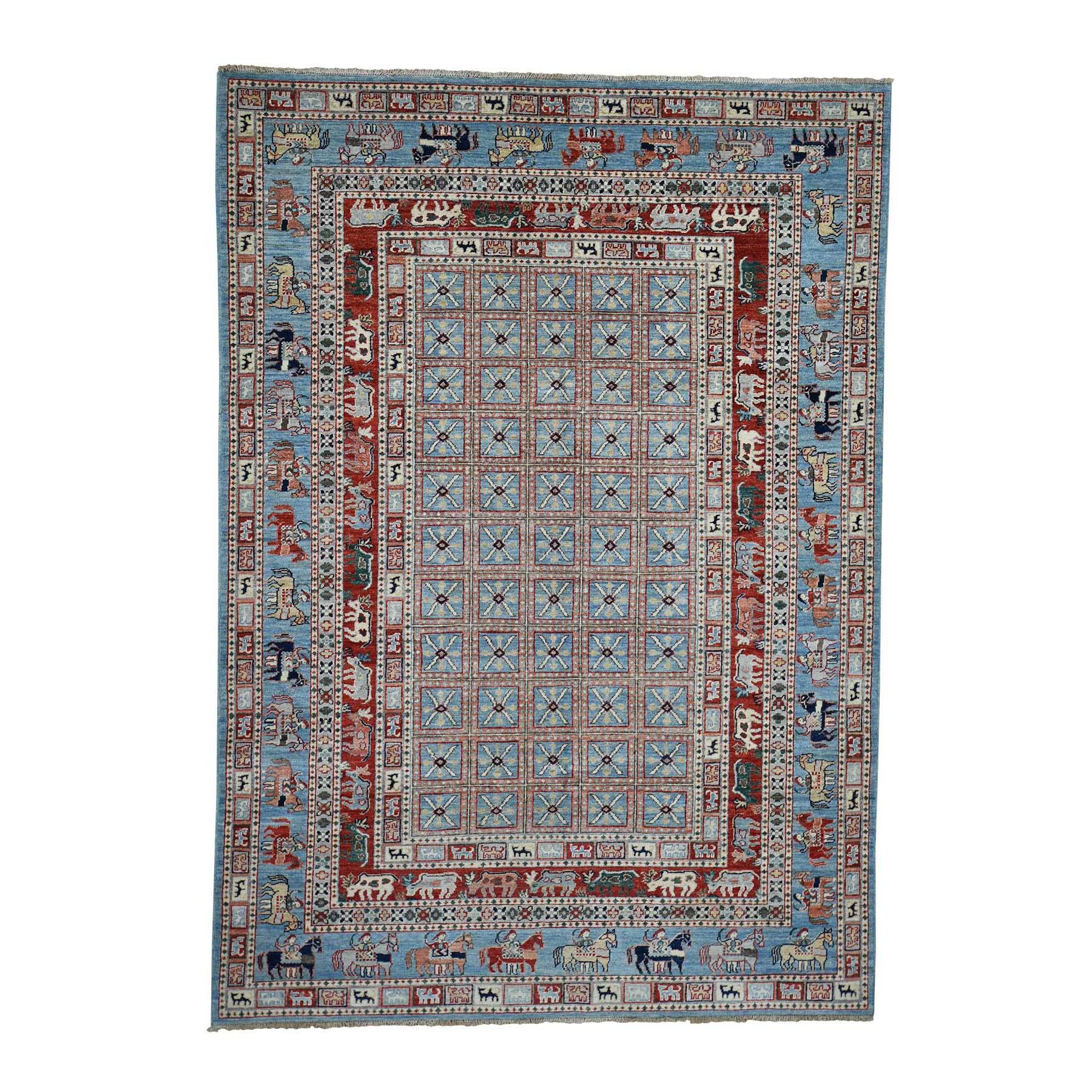 "6'2""X8'9"" Antiqued Pazyryk Historical Design Hand-Knotted Peshawar Oriental Rug moadbb07"