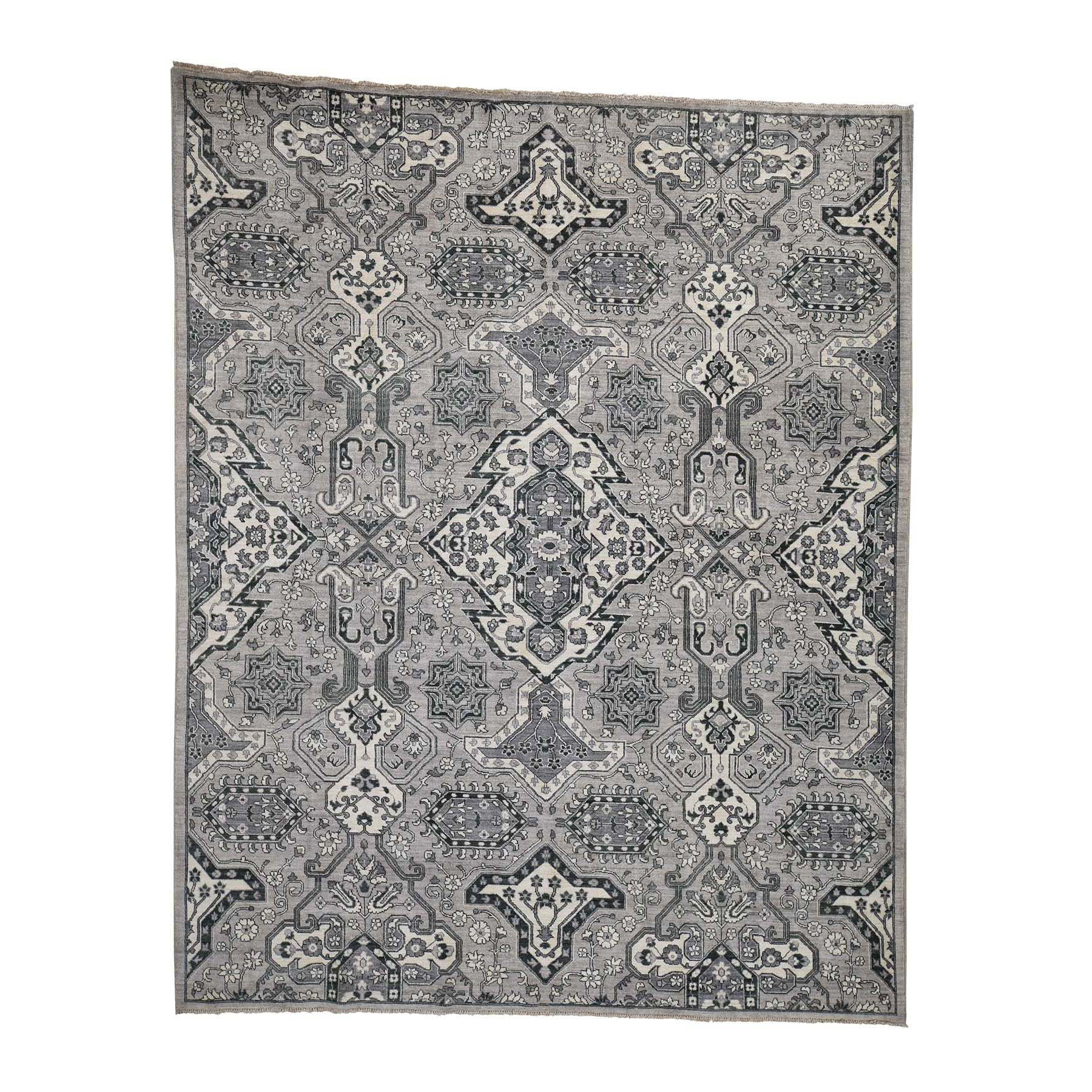 "8'4""X10'6"" Oushak Influence Design Silver & Grey Pure Wool Hand-Knotted Oriental Rug moadbbd7"