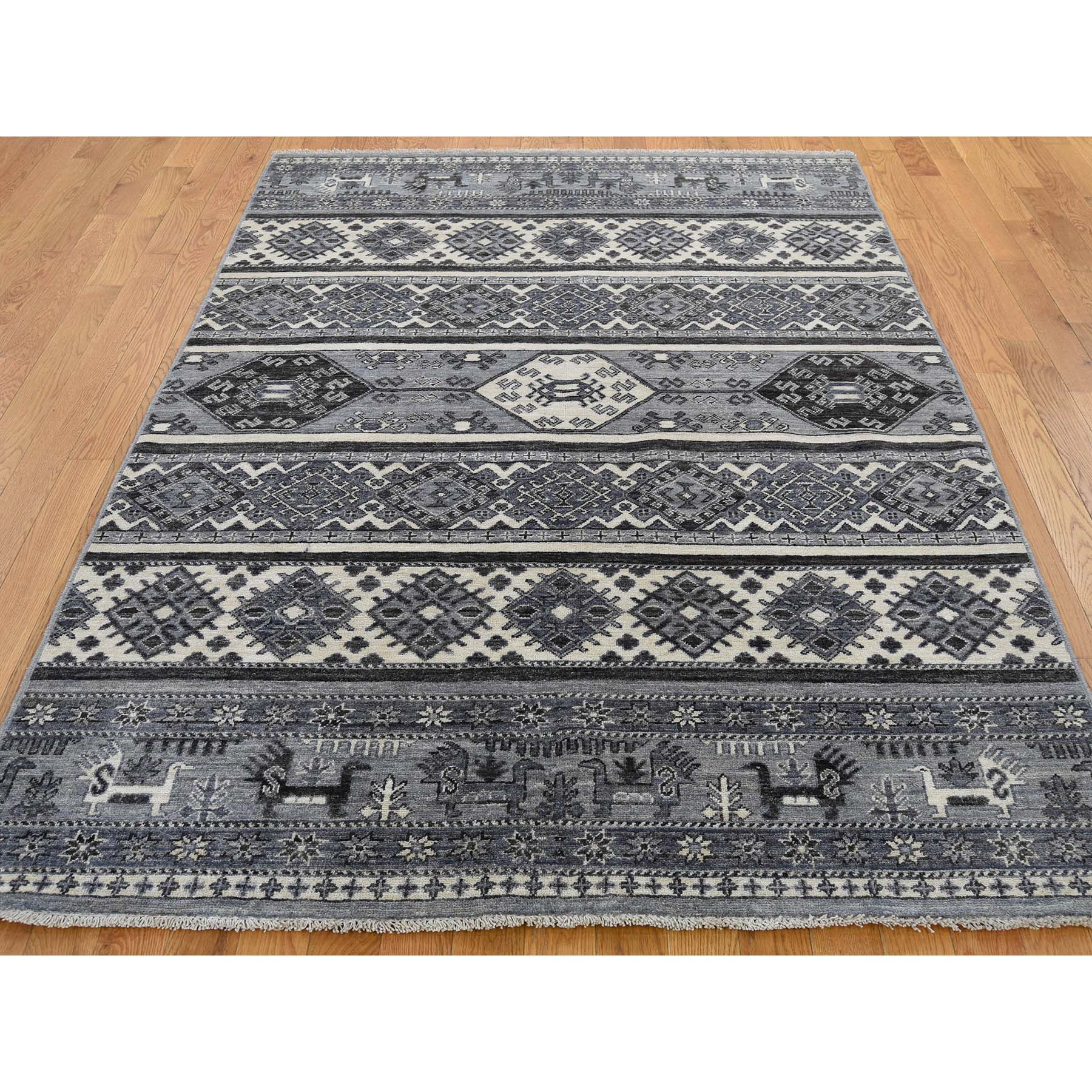 5-x7- Hand-Knotted Natural Colors Super Kazak Khorjin Design Oriental Rug