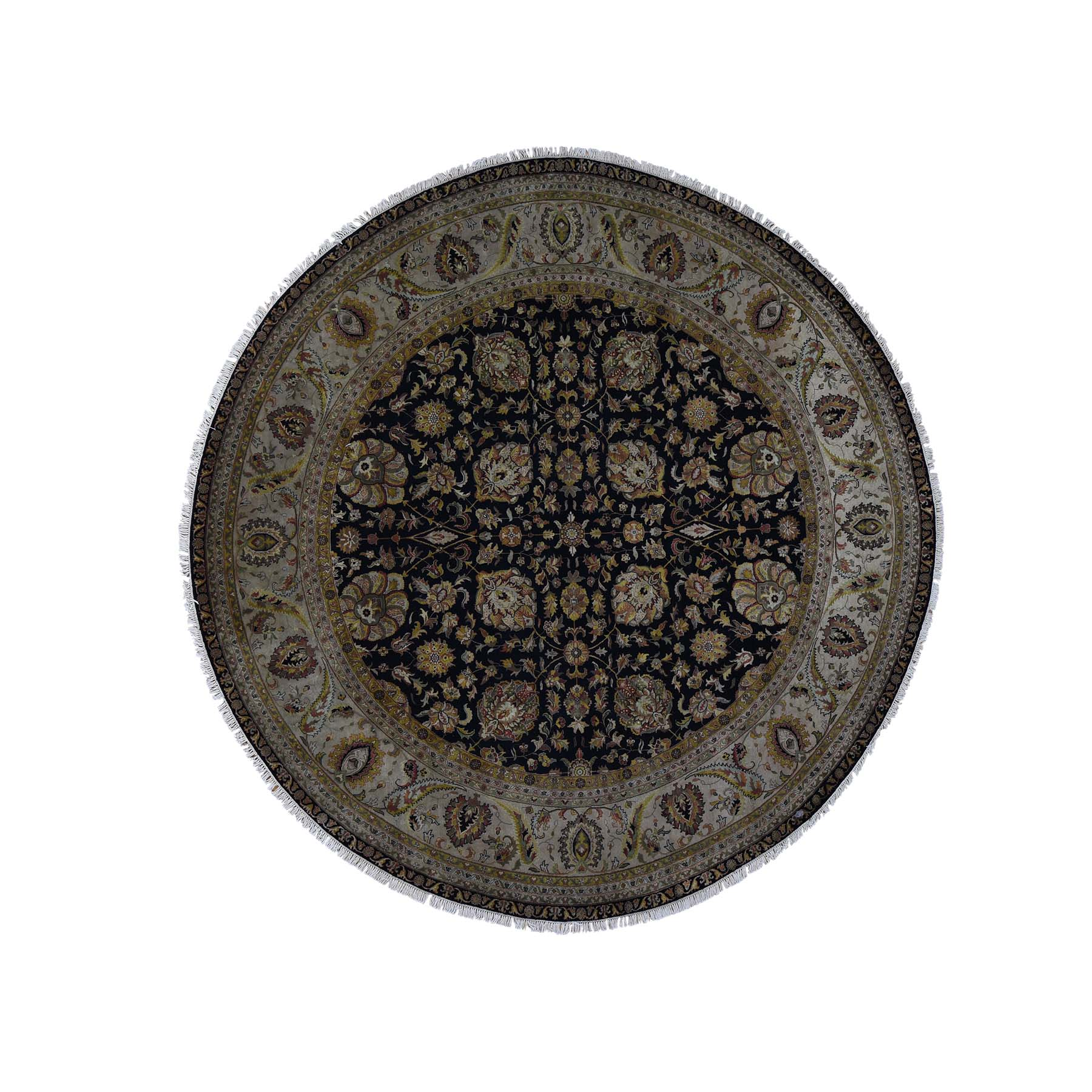 10'X10' New Zealand Wool Tabriz 300 Kpsi Hand Spun Round Hand-Knotted Oriental Rug moadbb7a