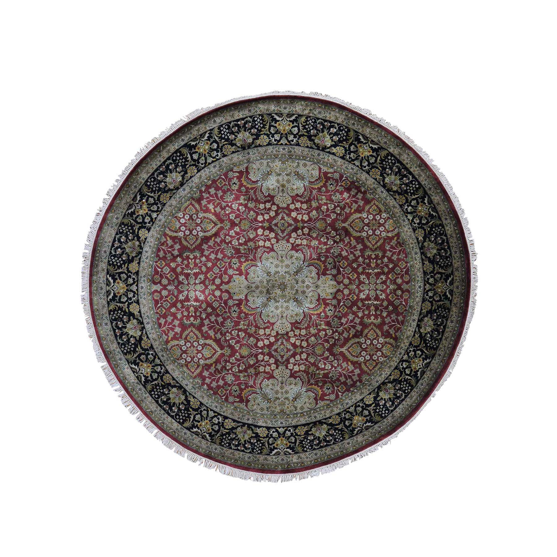 8'X8' New Zealand Wool 300 Kpsi Kashan Revival Round Hand-Knotted Oriental Rug moadbb89