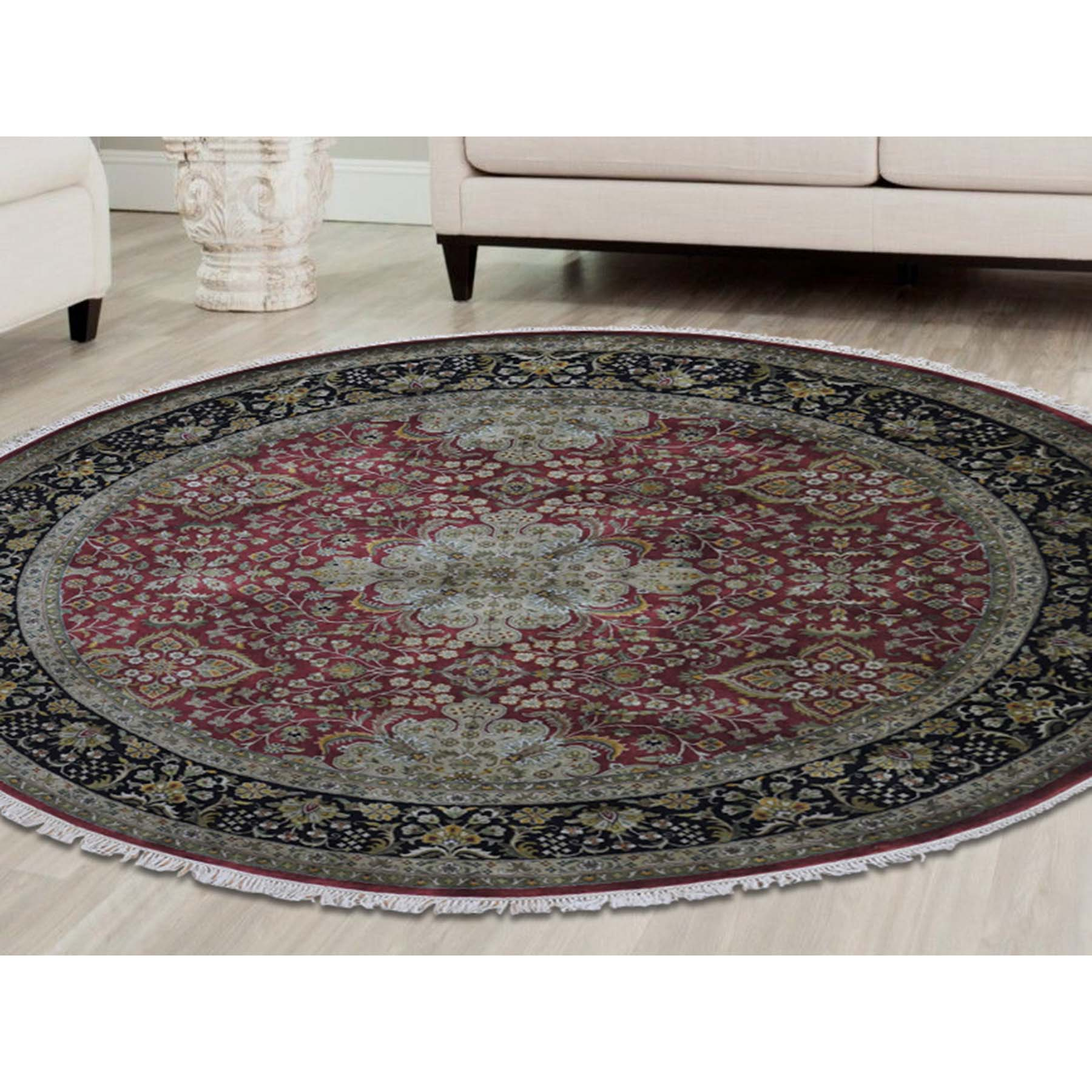 8-x8- New Zealand Wool 300 Kpsi Kashan Revival Round Hand-Knotted Oriental Rug