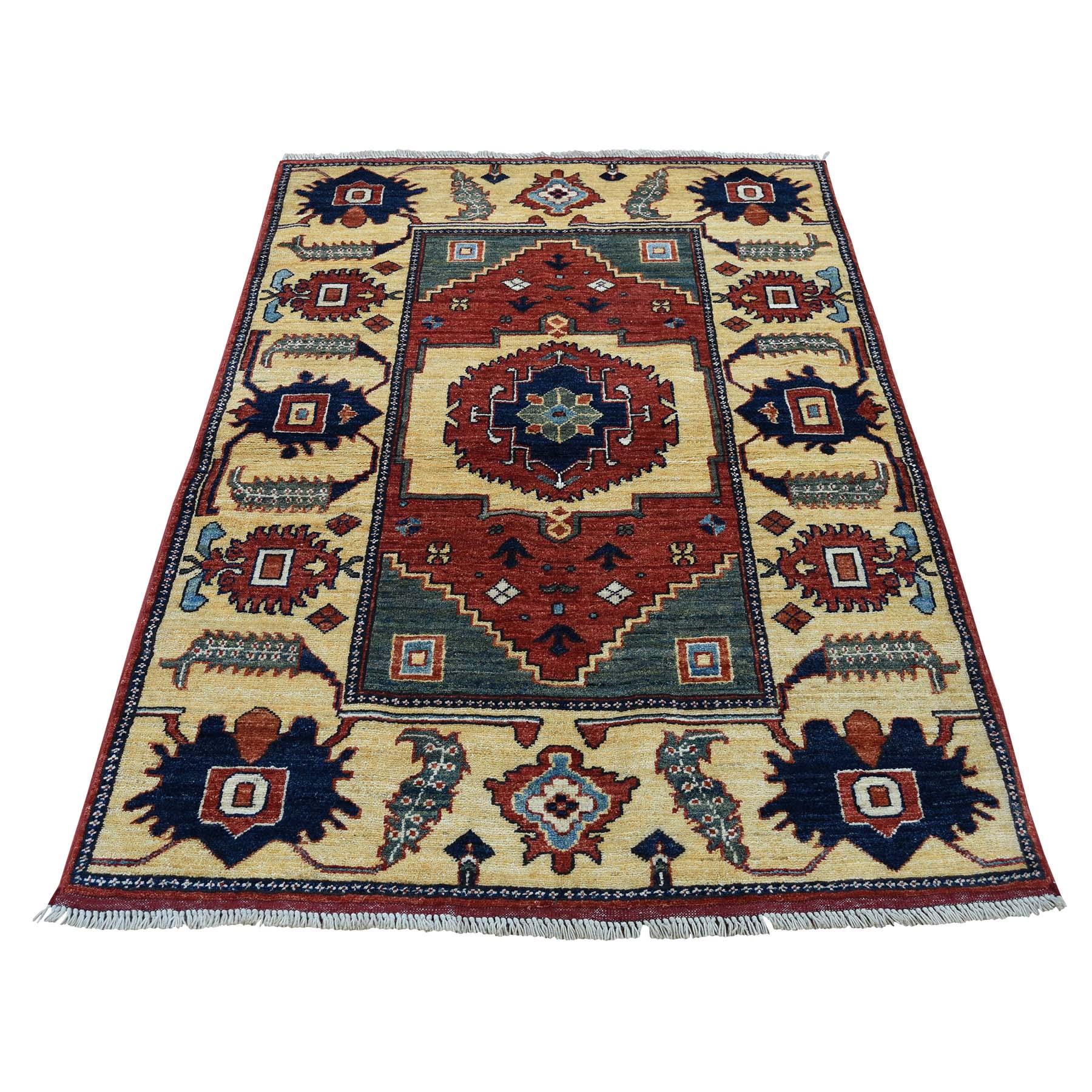 "3'5""X5'2"" Pure Wool Hand-Knotted Afghan Ersari Oriental Rug moadbcdc"
