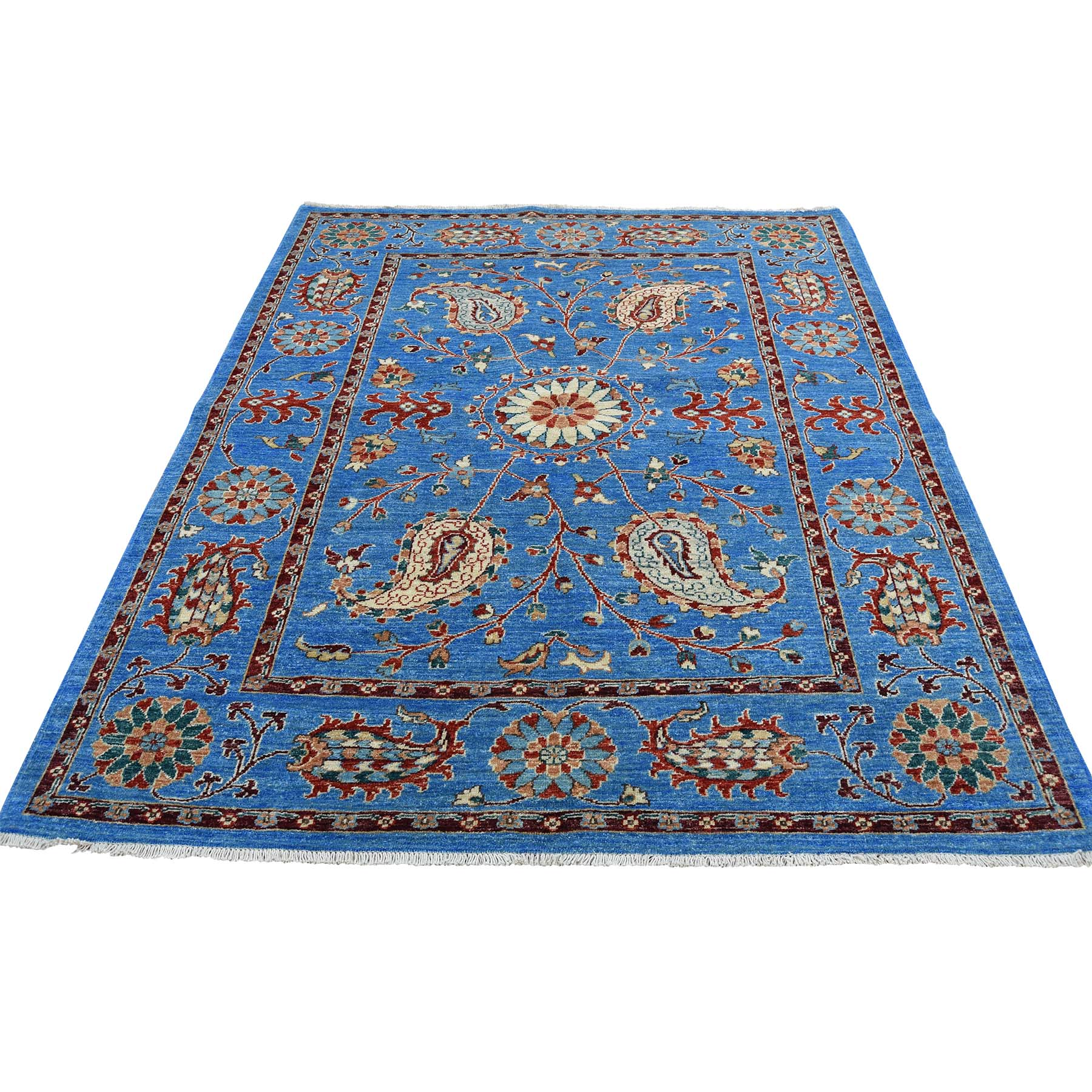 5-2 x6-4  Hand-Knotted Peshawar with Suzani Design Pure Wool Oriental Rug