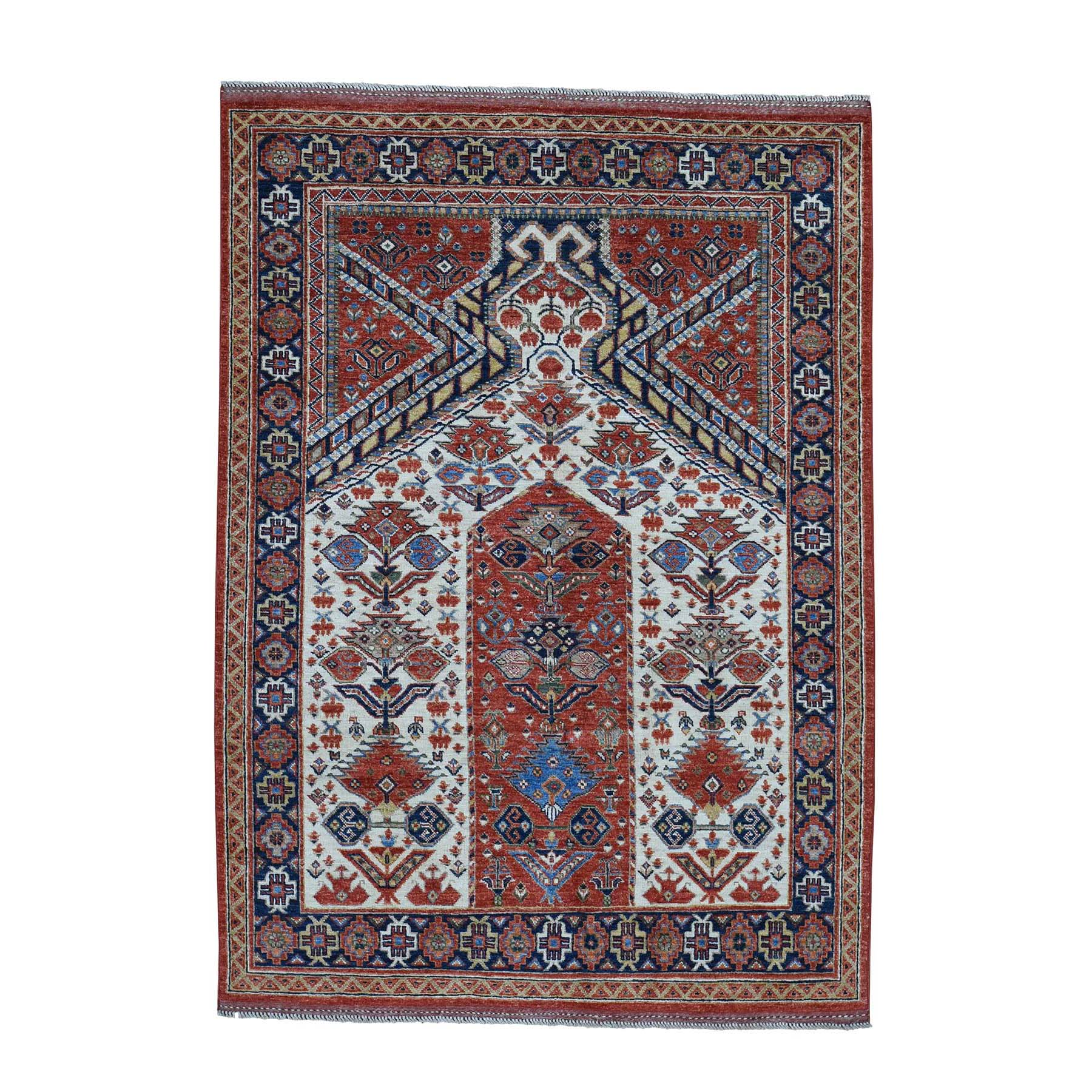 5'X7' Pure Wool Hand-Knotted Afghan Ersari Prayer Design Oriental Rug moadbc66