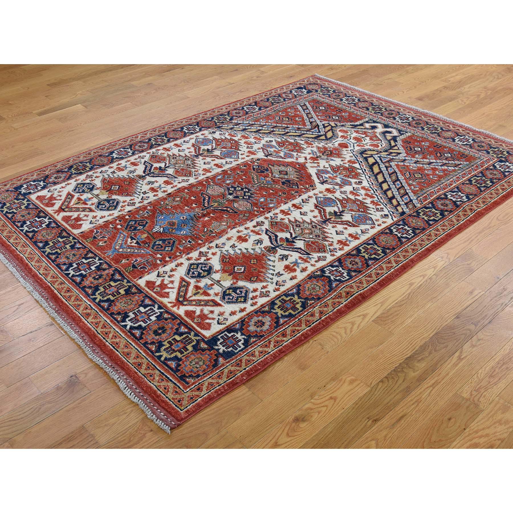 5-x7- Pure Wool Hand-Knotted Afghan Ersari Prayer Design Oriental Rug